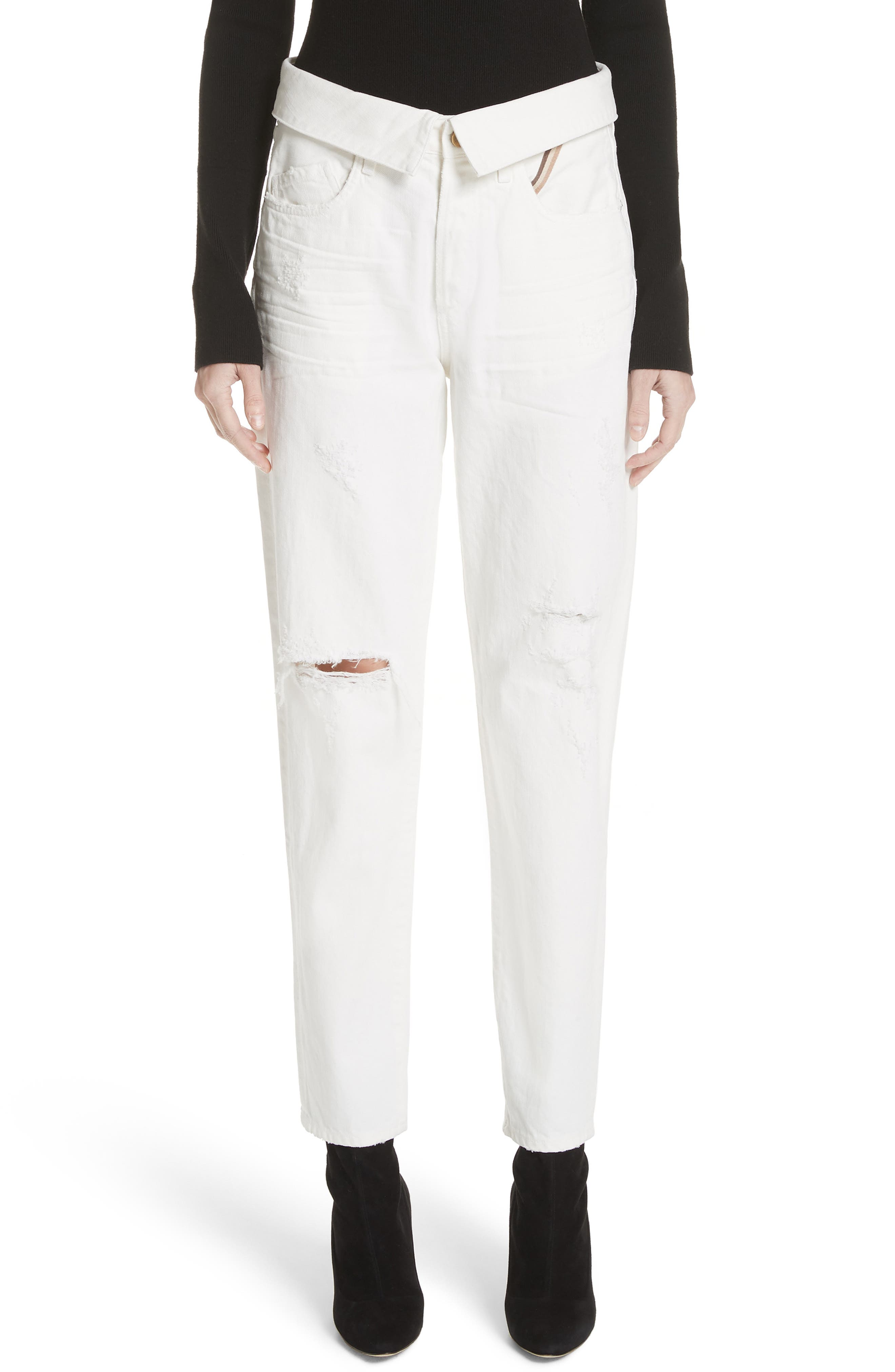 Flip Straight Leg Jeans,                             Main thumbnail 1, color,                             WHITE SAND