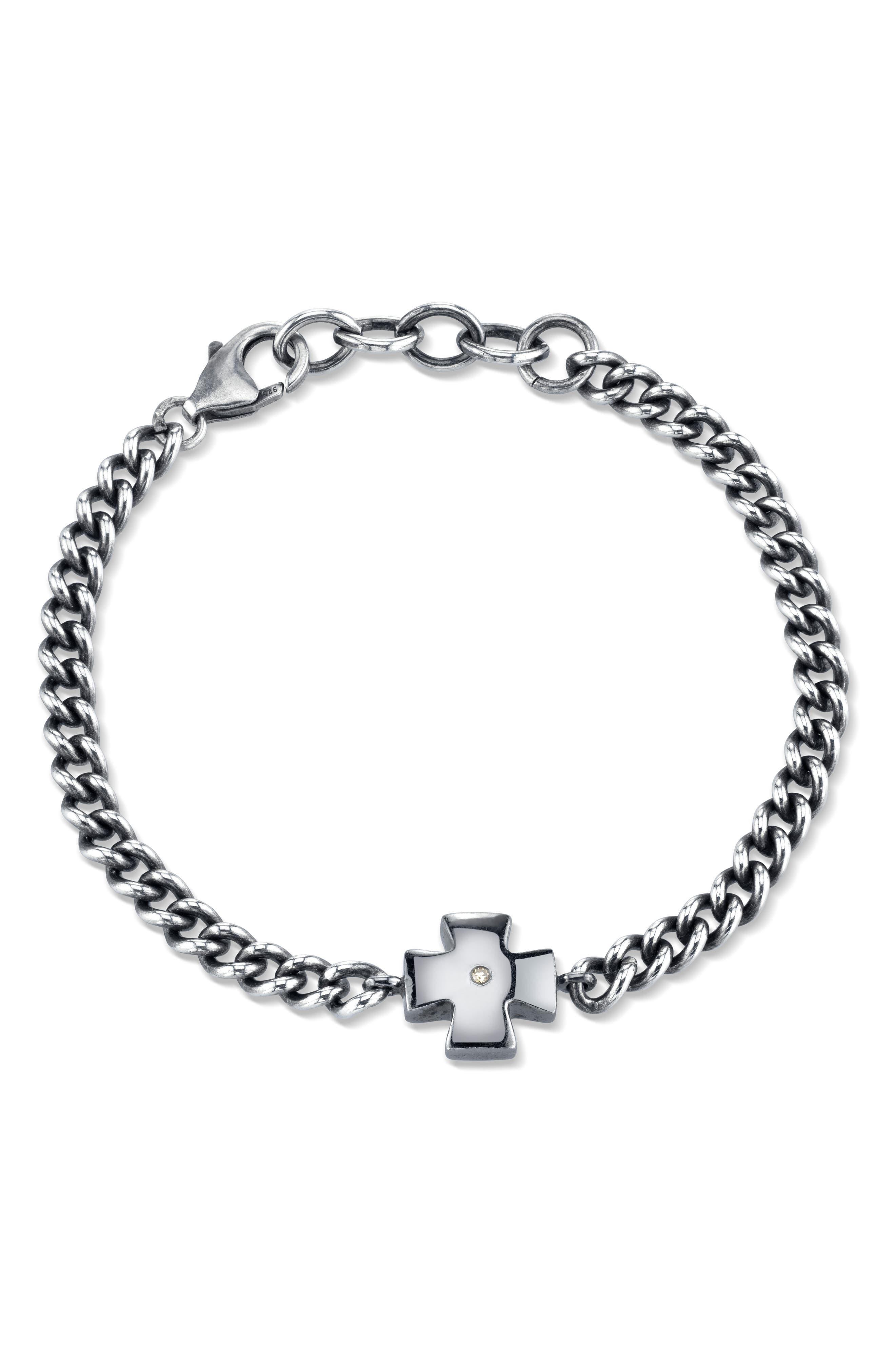 Diamond Chain Bracelet in Sterling Silver