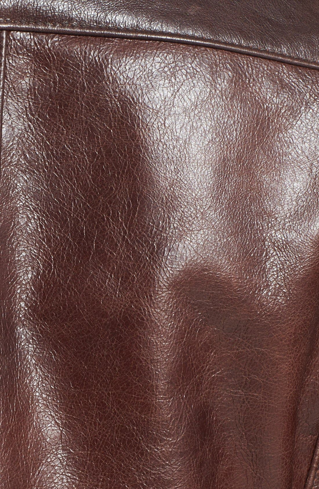 Café Racer Waxy Cowhide Leather Jacket,                             Alternate thumbnail 8, color,                             BROWN