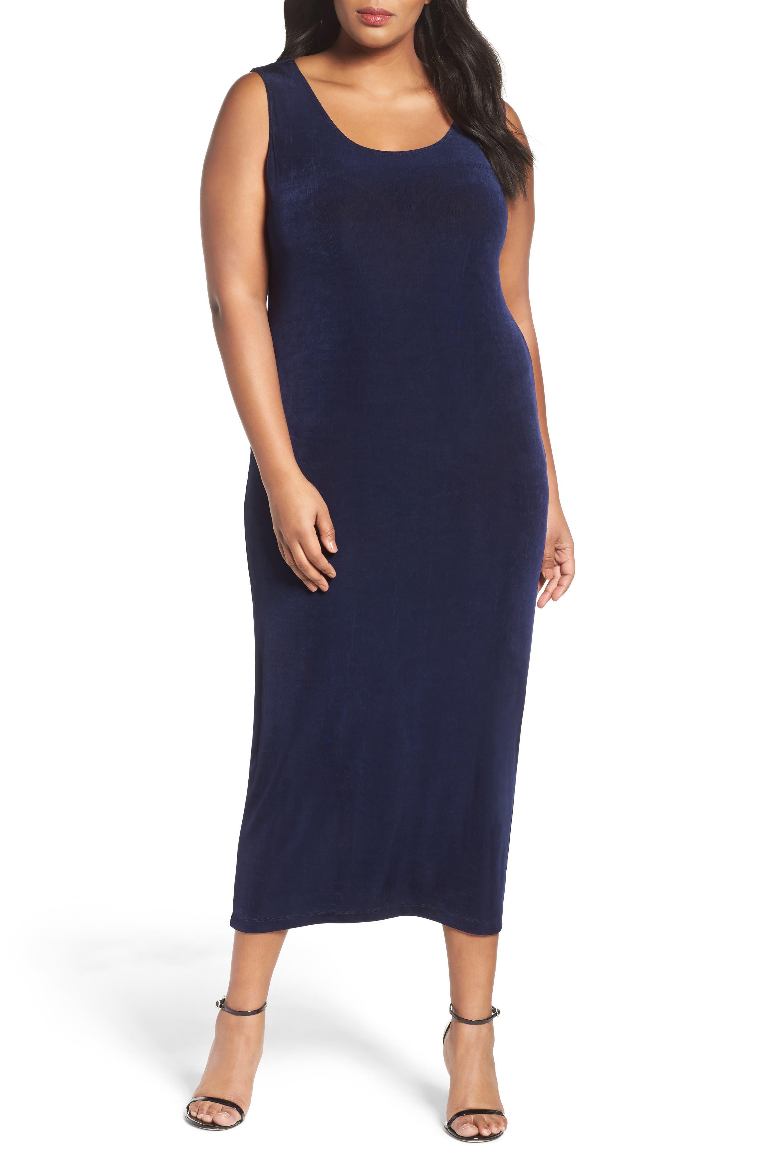 VIKKI VI,                             Sleeveless Maxi Tank Dress,                             Main thumbnail 1, color,                             NAVY