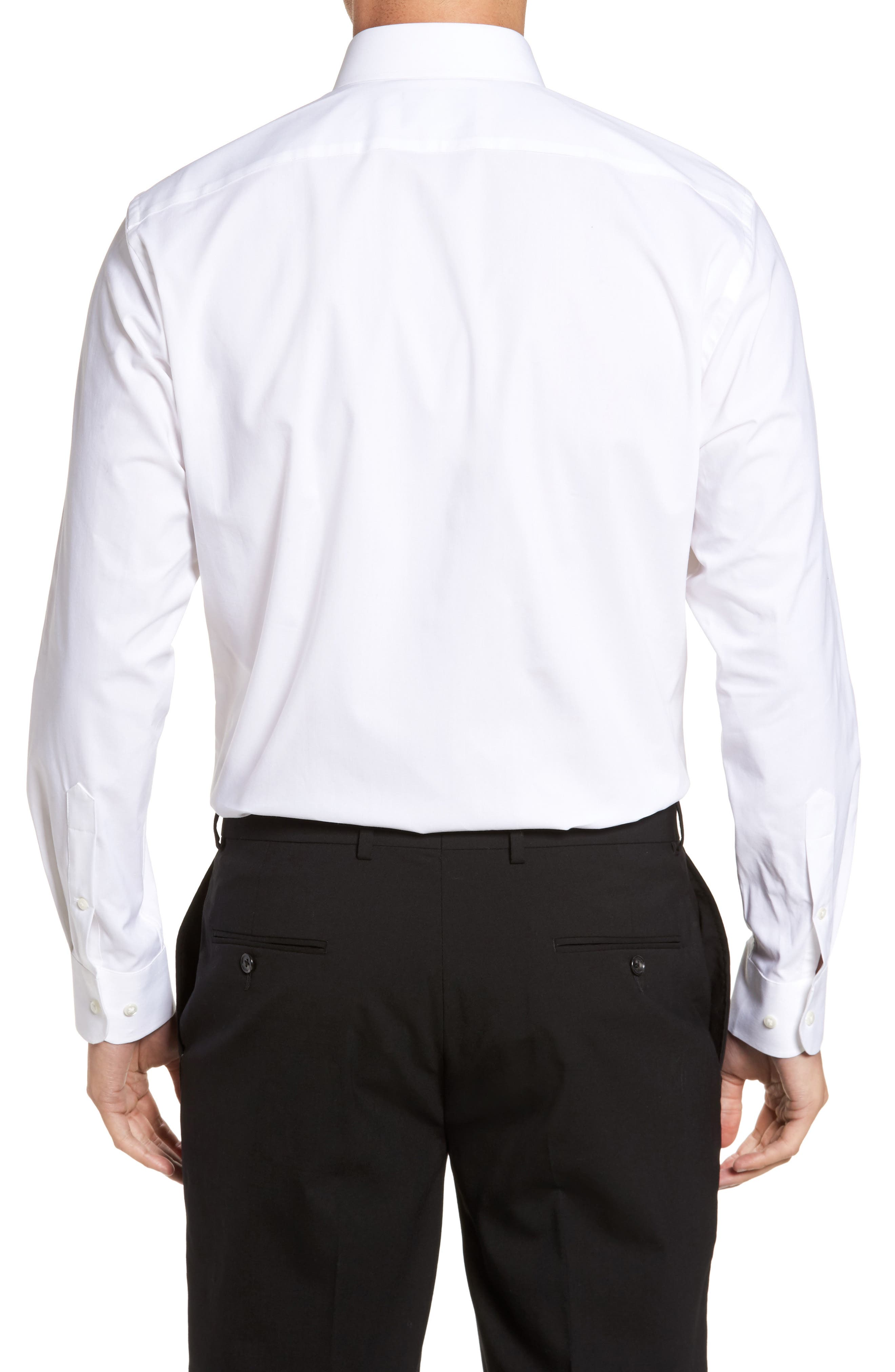 Tech-Smart Traditional Fit Stretch Pinpoint Dress Shirt,                             Alternate thumbnail 2, color,                             WHITE