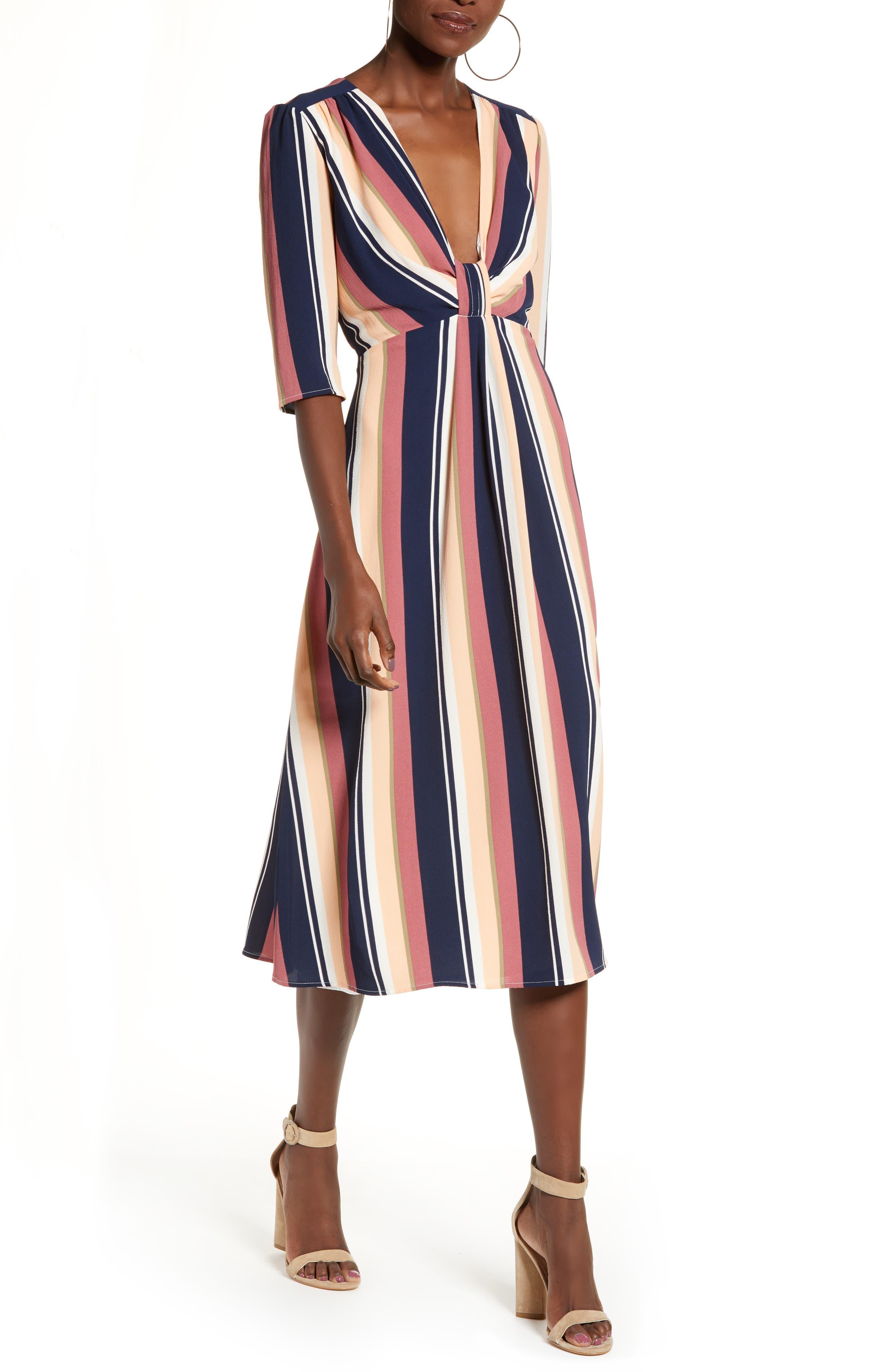 Leith Deep V-Neck Stripe Midi Dress, Blue