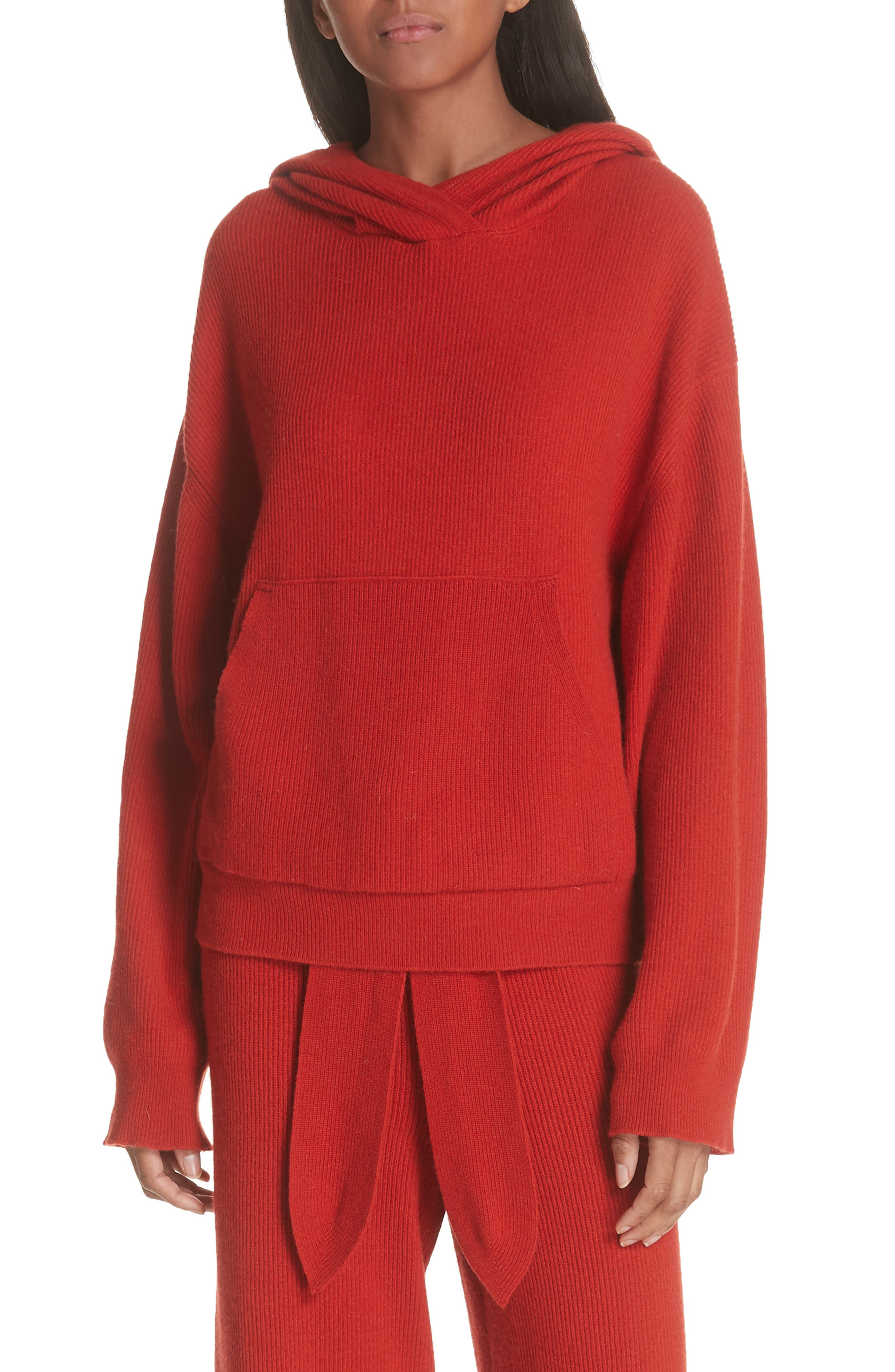 Nanushka Mog Merino Wool & Cashmere Blend Hoodie, Red