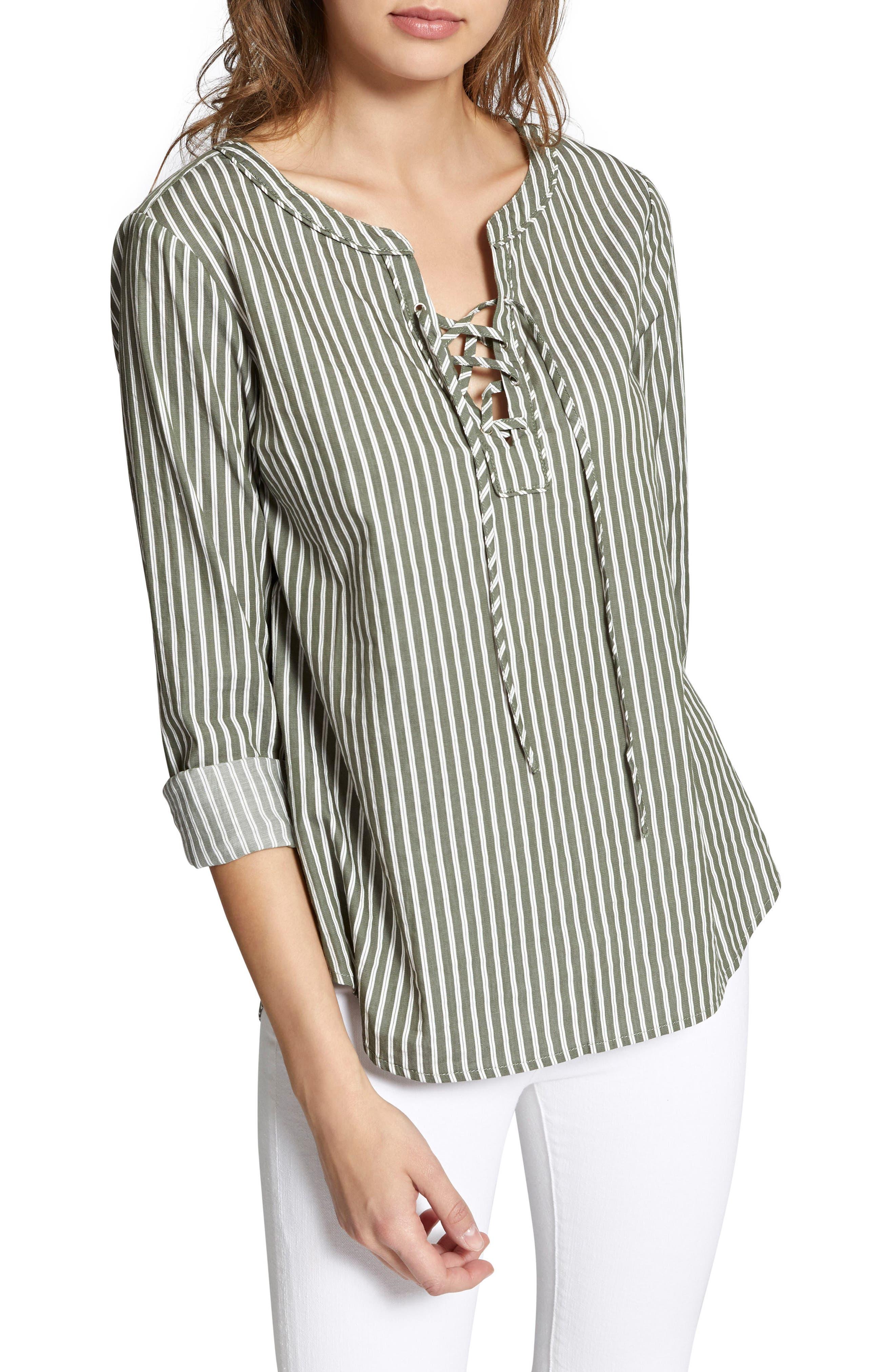 Tommie Lace-Up Stripe Shirt,                         Main,                         color, 312