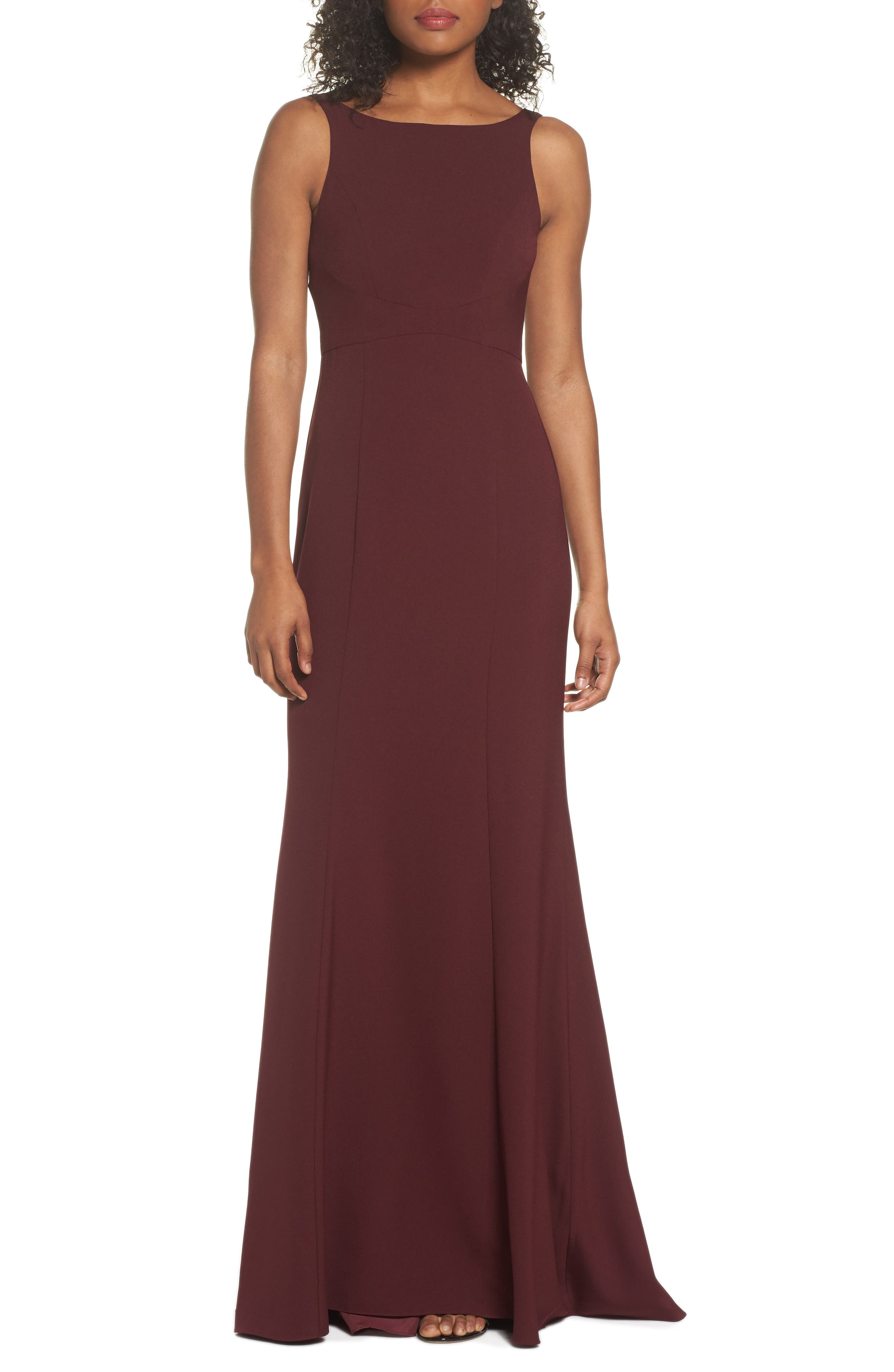 Joelle Low Back Crepe Gown,                             Main thumbnail 1, color,                             RUBY