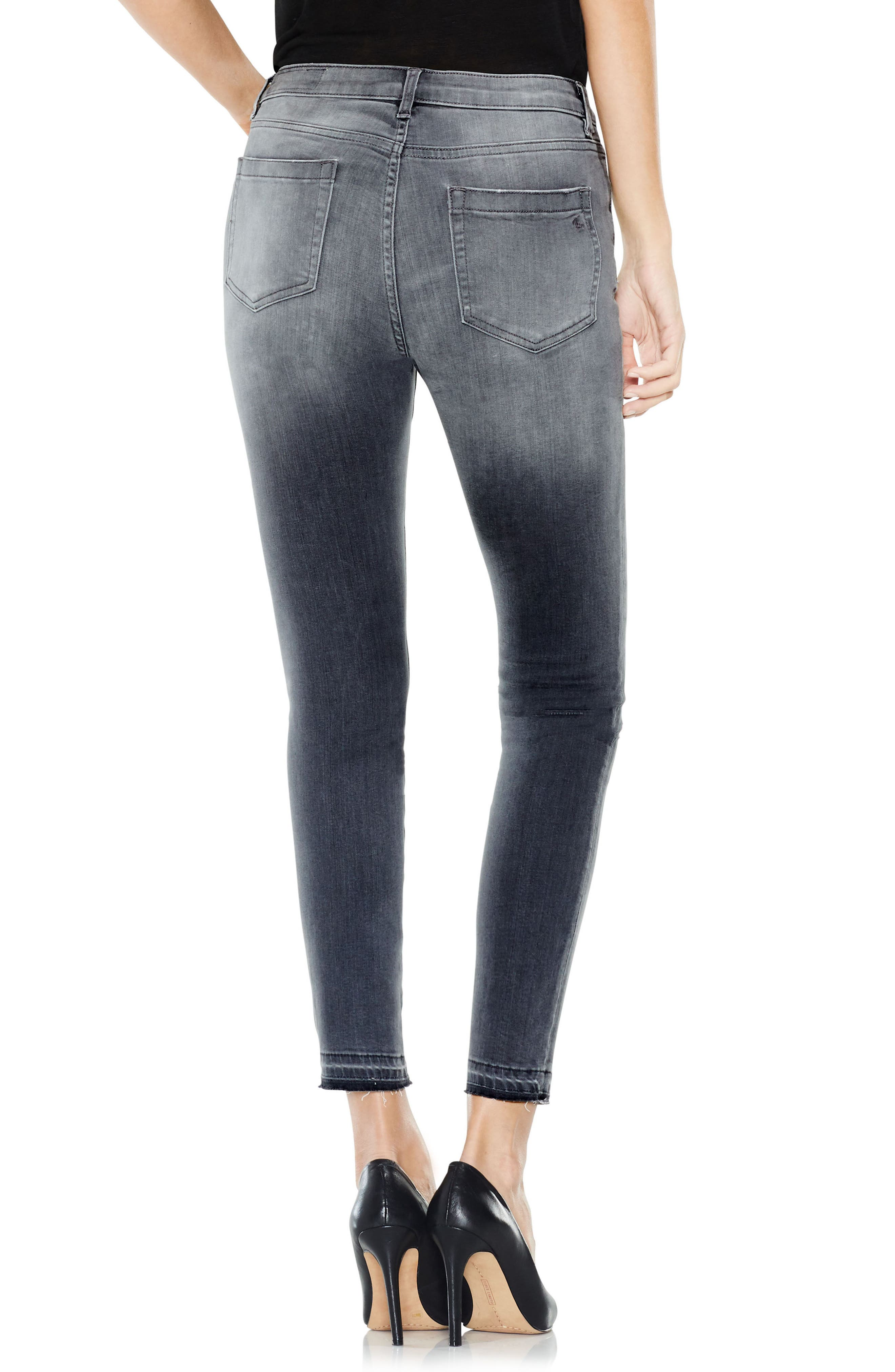 Two by Vince Camuto Grey Released Hem Jeans,                             Alternate thumbnail 2, color,                             COBBLESTONE