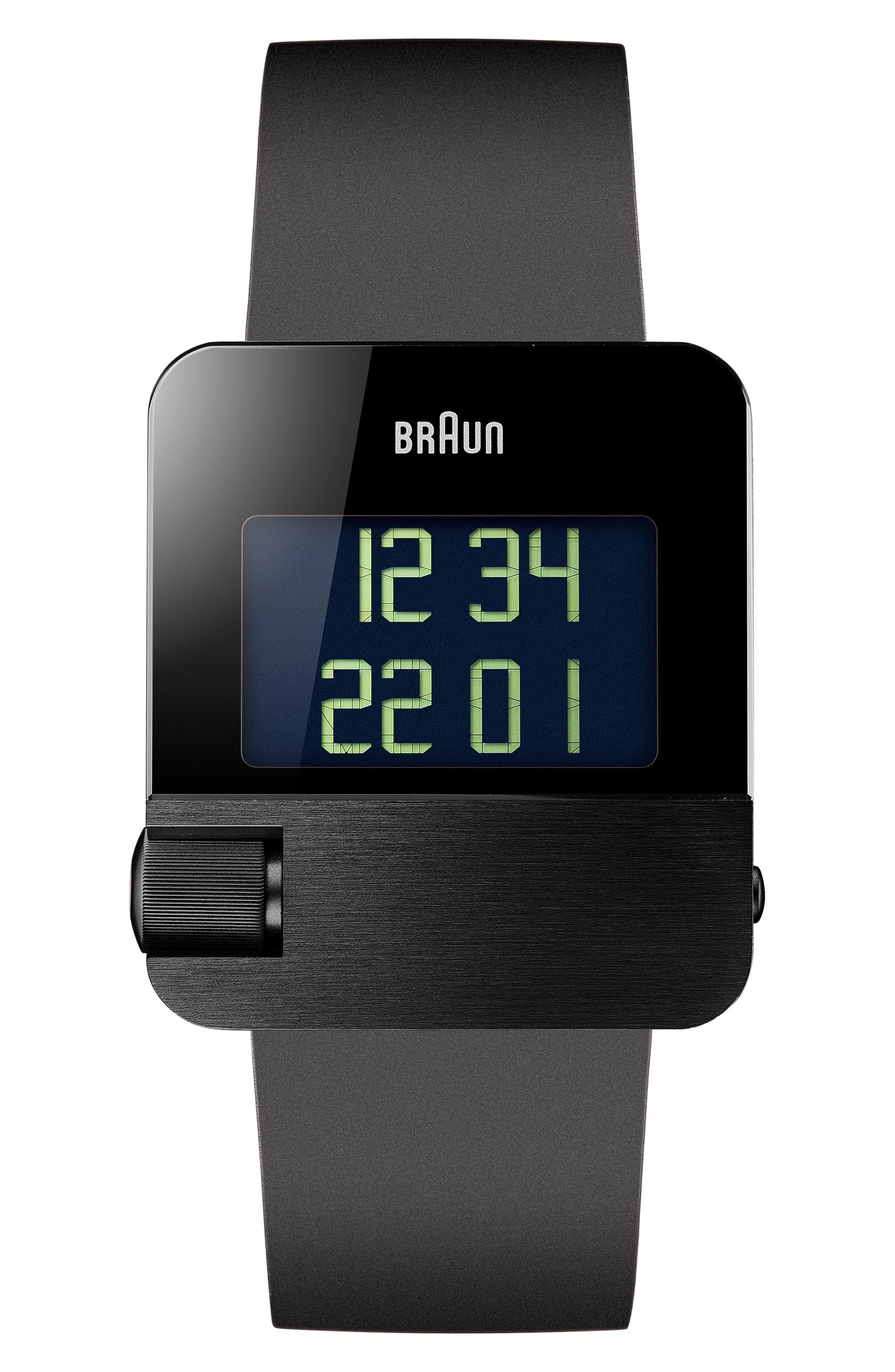 BRAUN Prestige Digital Rubber Strap Watch, 42Mm in Black