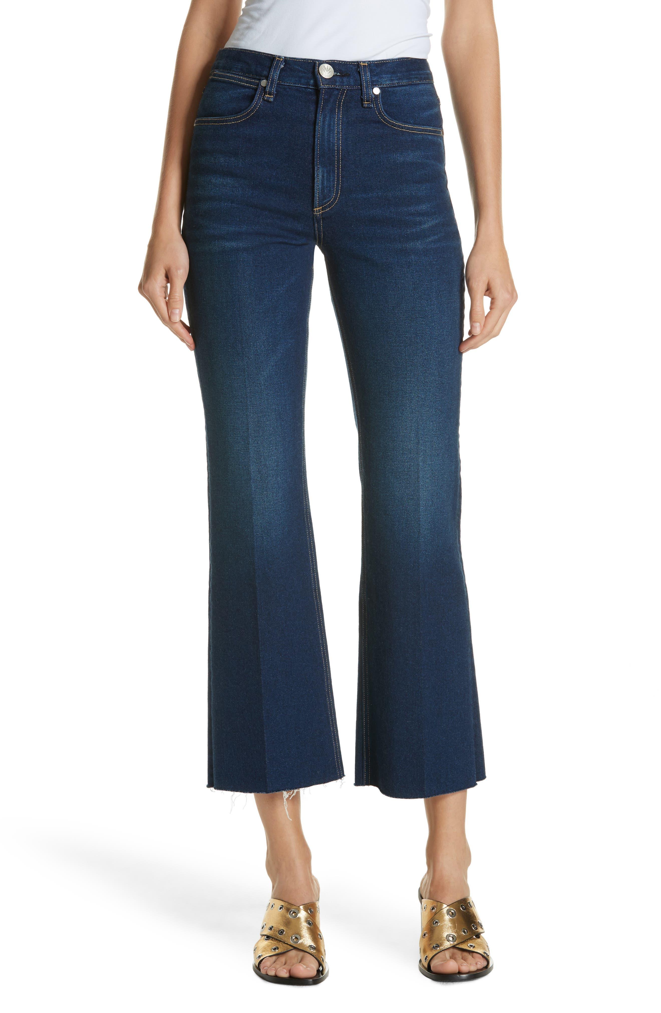 RAG & BONE Justine High Waist Crop Wide Leg Jeans, Main, color, 410