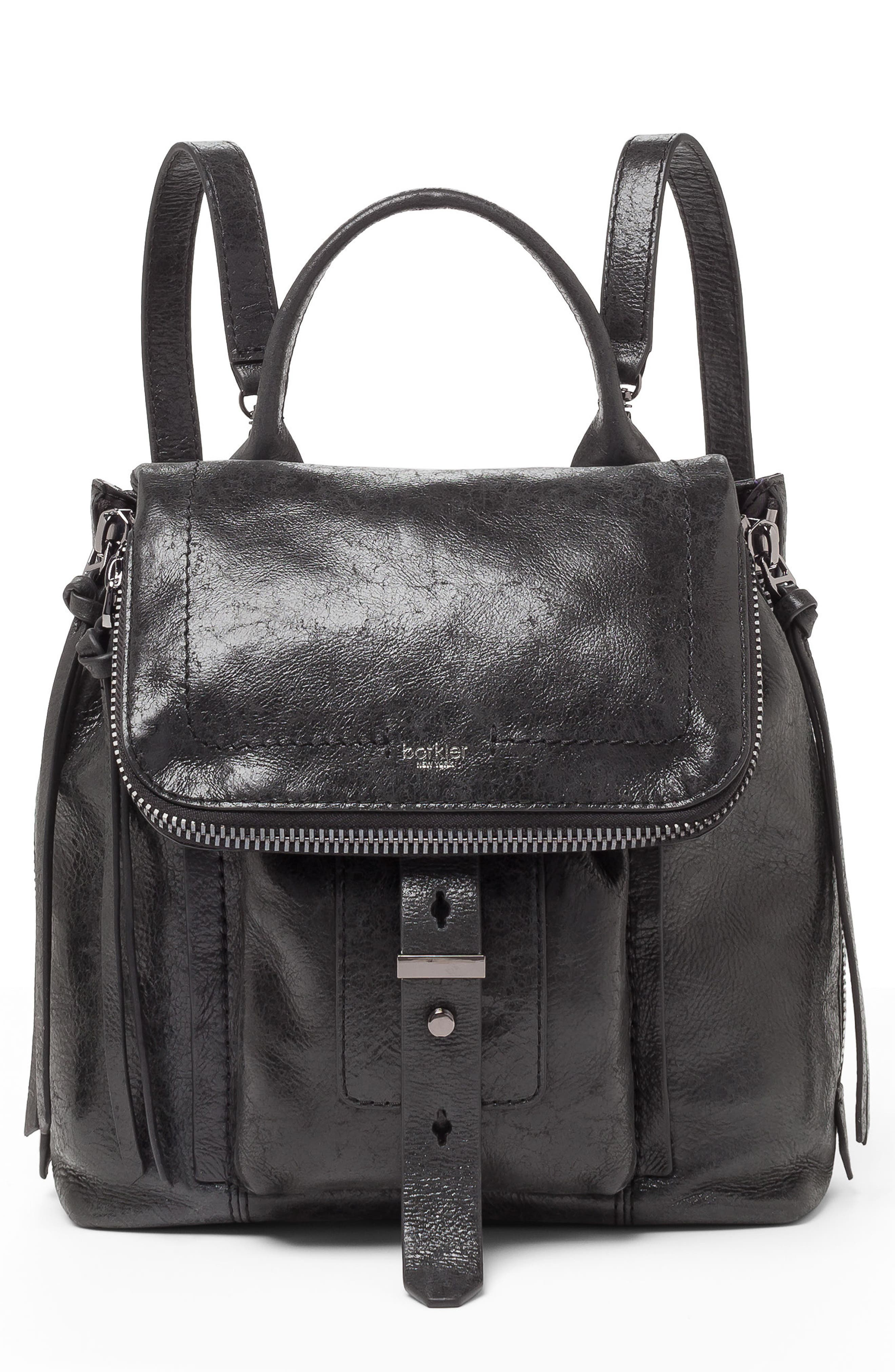 Warren Leather Backpack,                             Main thumbnail 1, color,                             BLACK