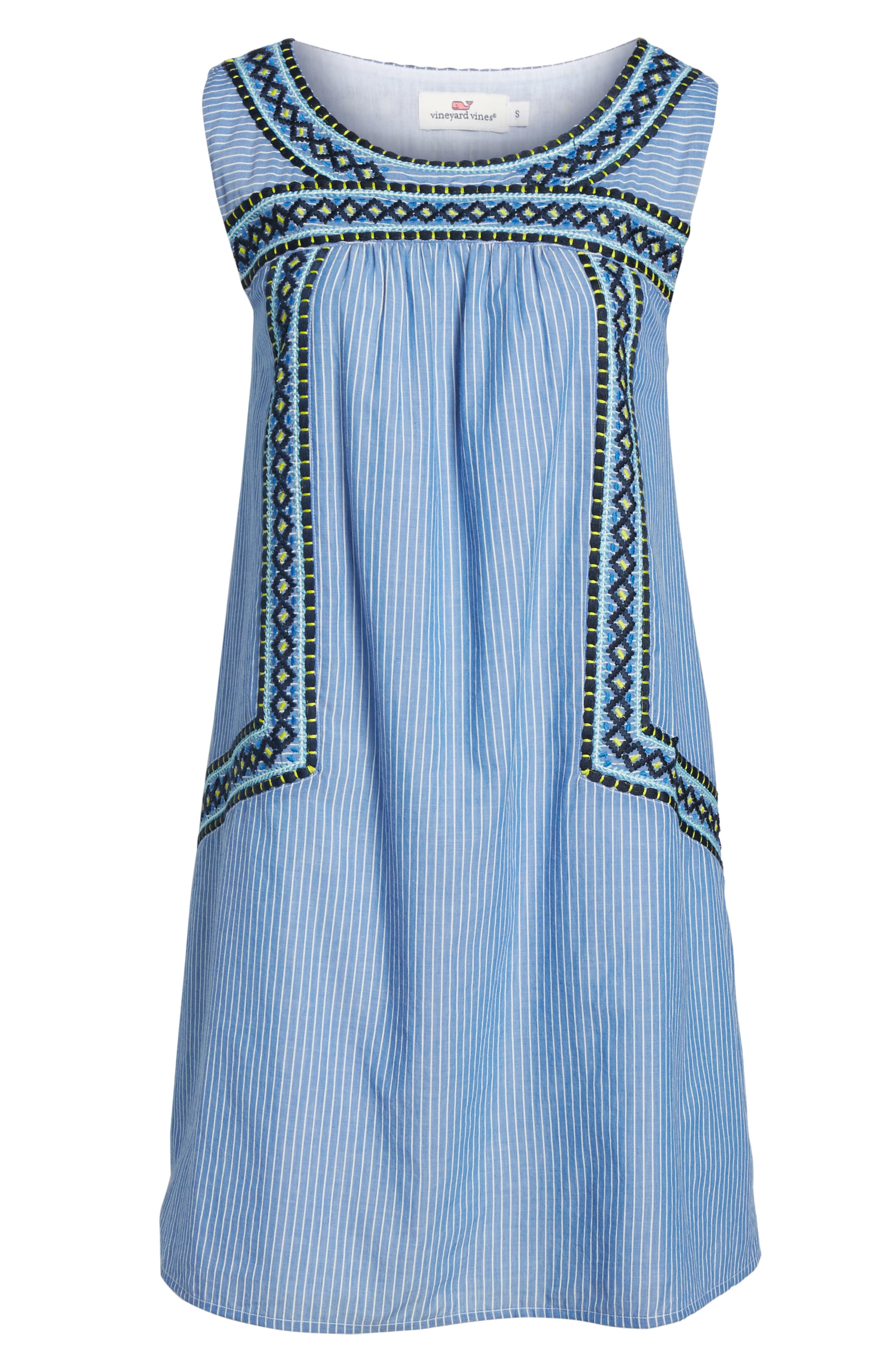 Embroidered Stripe Cotton Swing Dress,                             Alternate thumbnail 6, color,