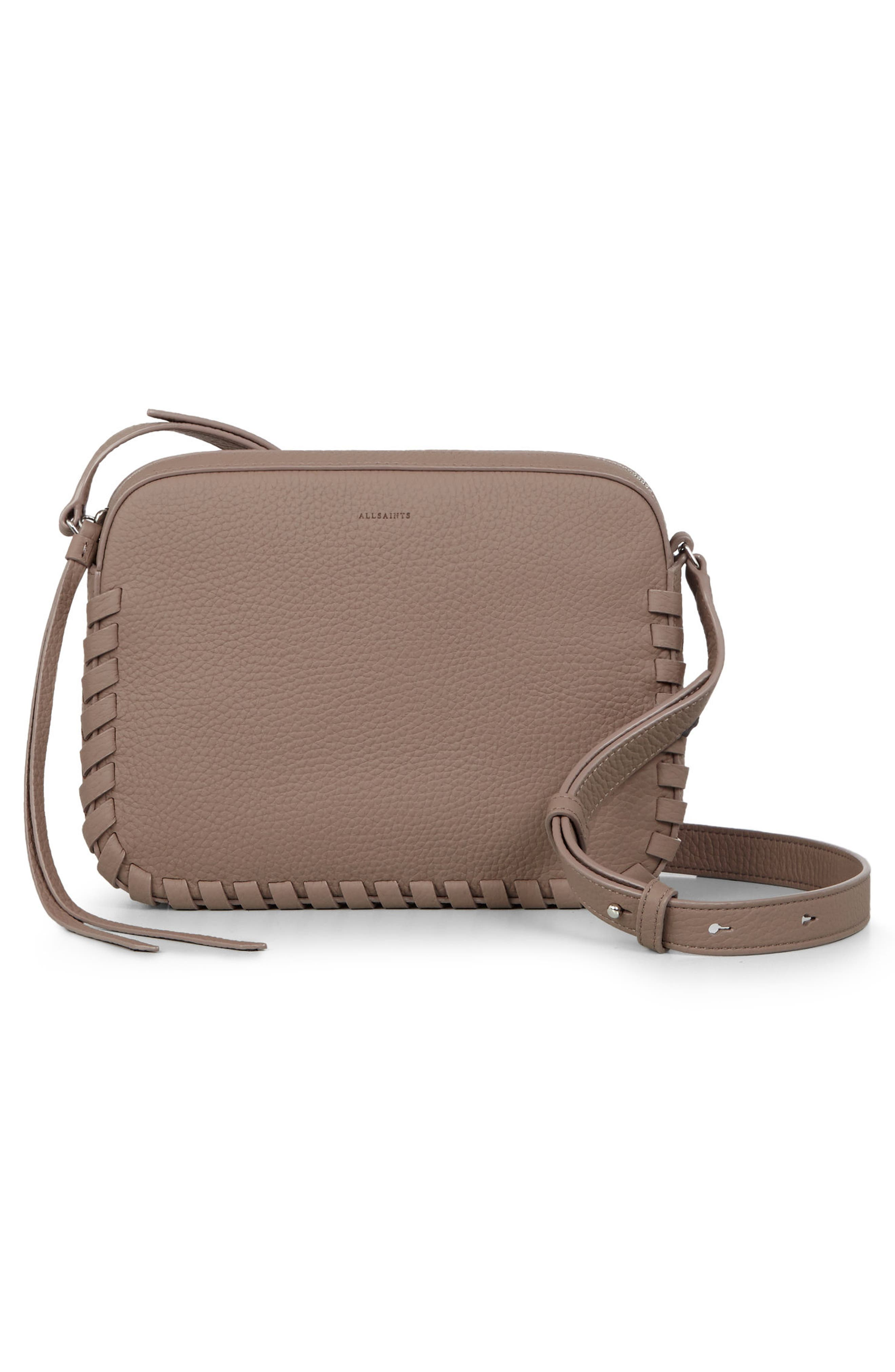 Kepi Mini Leather Crossbody Bag,                             Alternate thumbnail 3, color,                             ALMOND BROWN