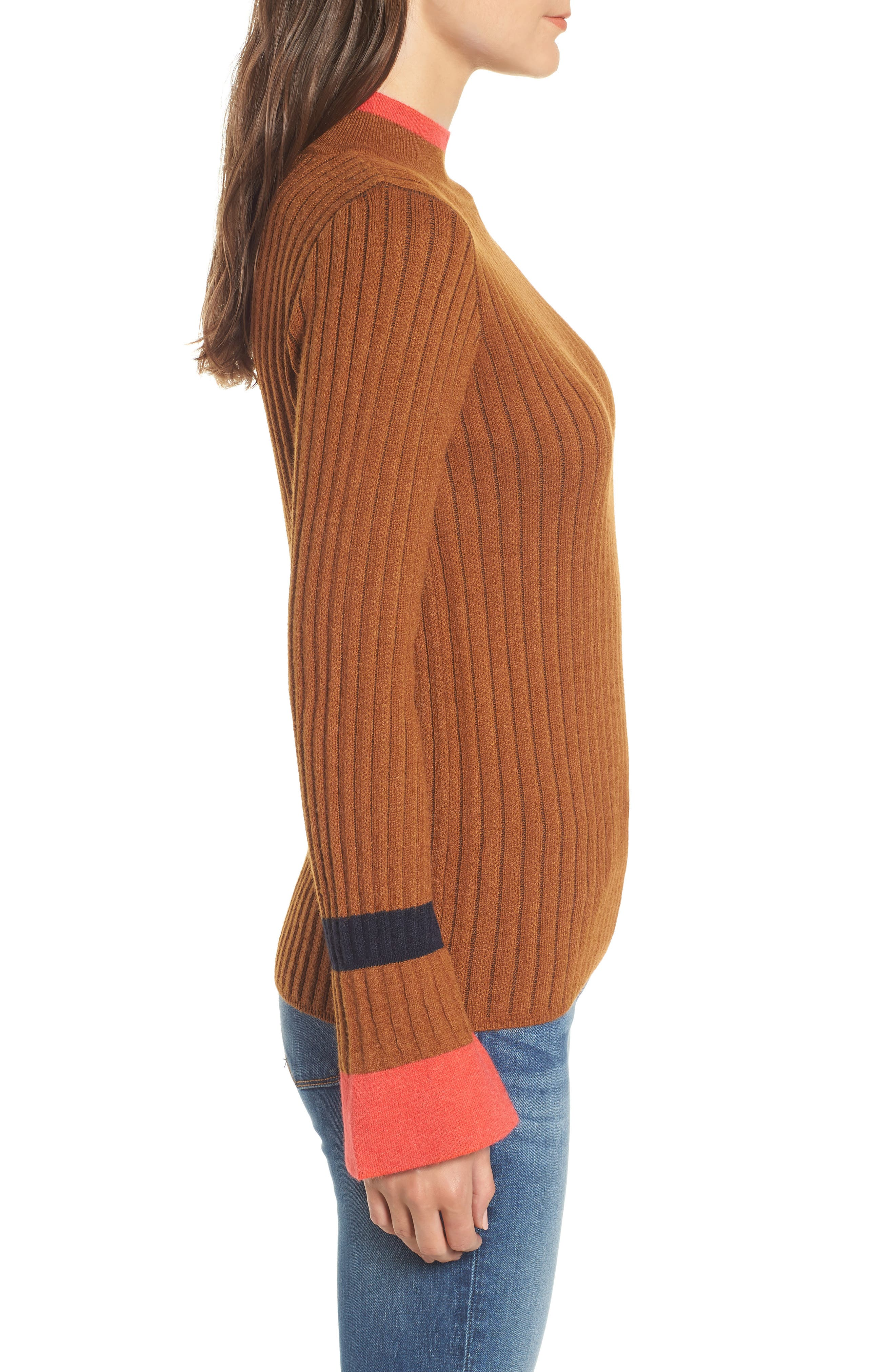 Stripe Bell Sleeve Sweater,                             Alternate thumbnail 3, color,                             CHOCOLATE