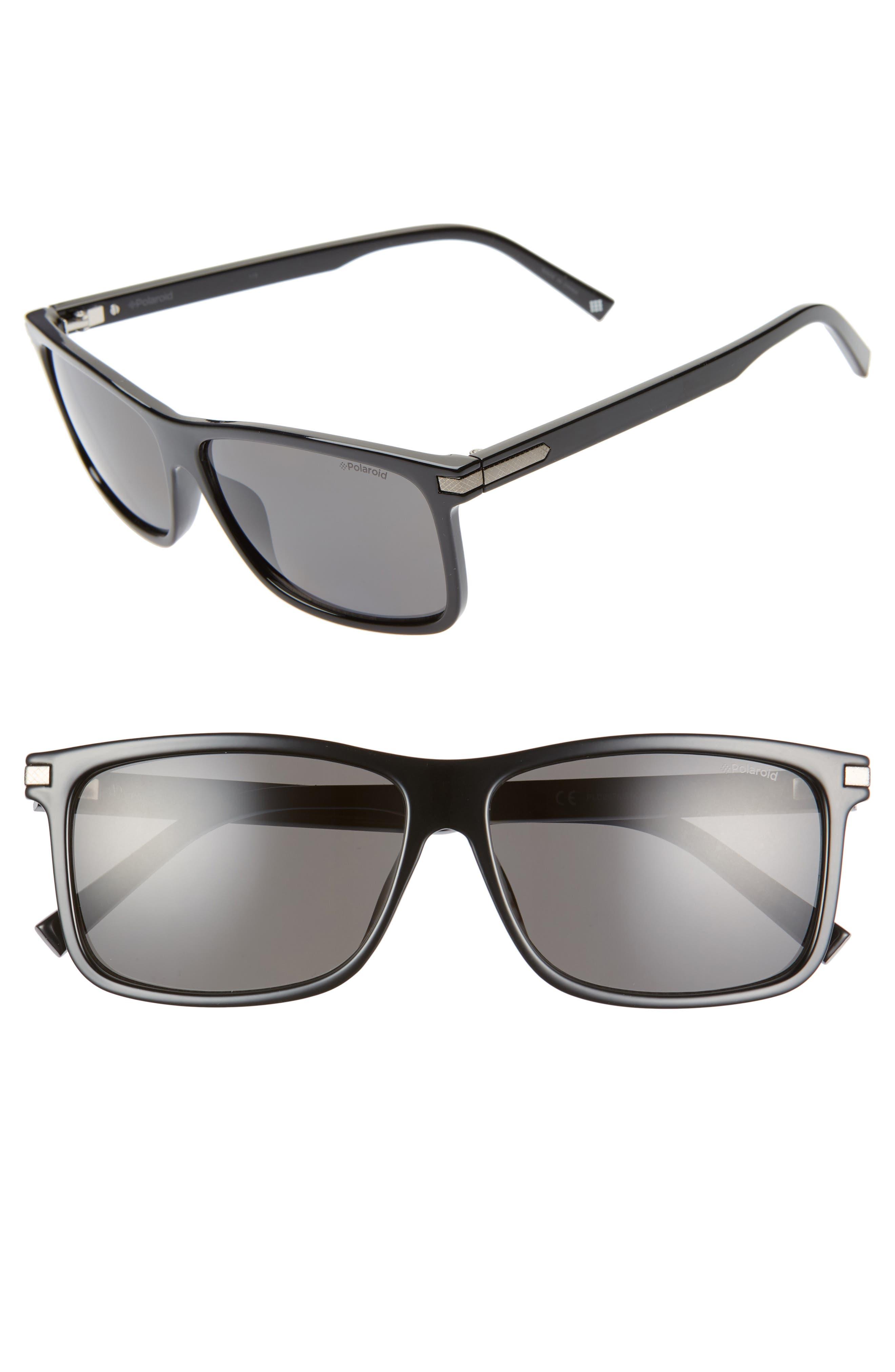 Polaroid 5m Polarized Rectangle Sunglasses - Black