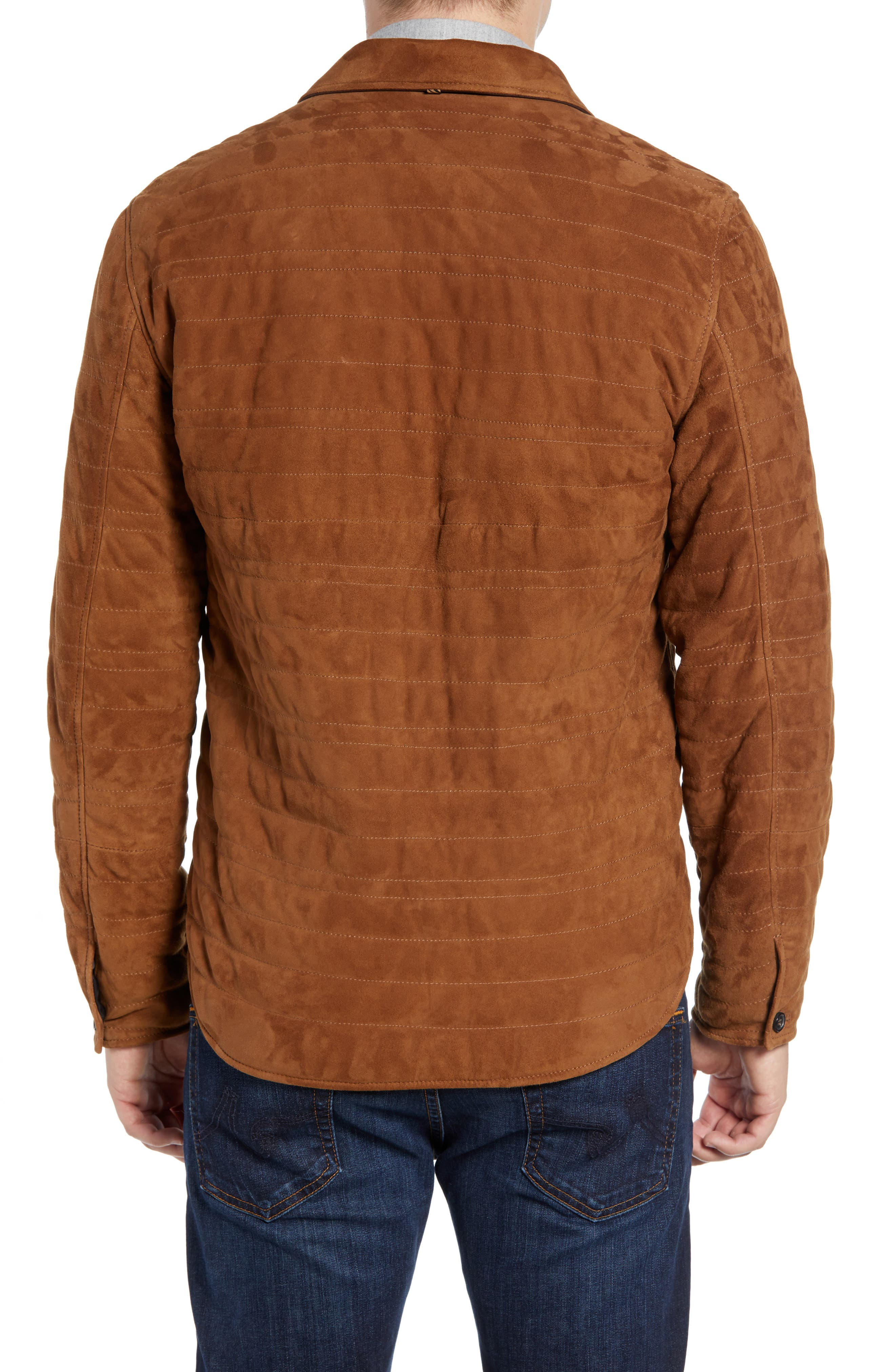 Regular Fit Quilted Suede Shirt Jacket,                             Alternate thumbnail 2, color,                             RUBBER