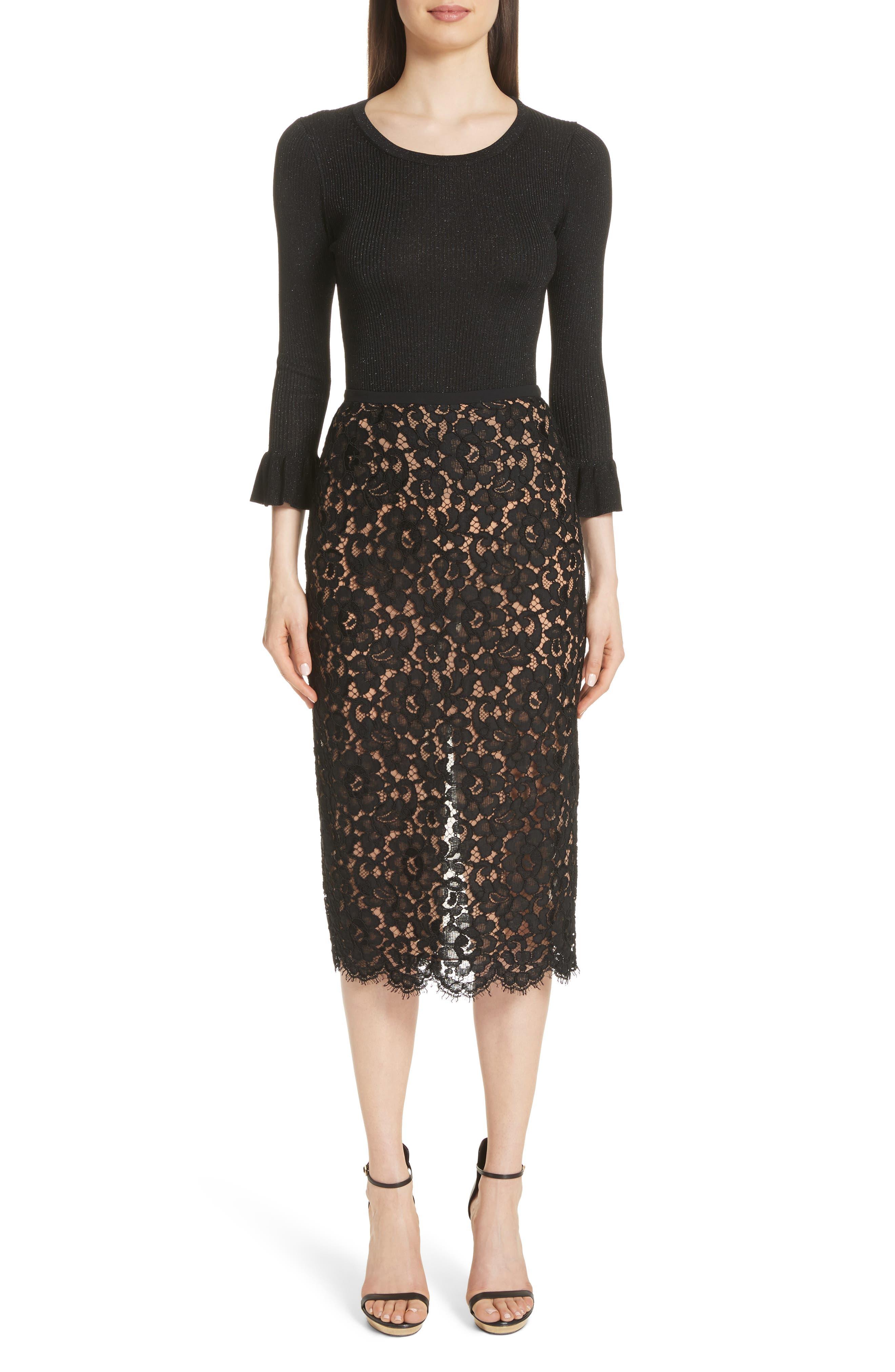Lace Pencil Skirt,                             Alternate thumbnail 7, color,                             BLACK