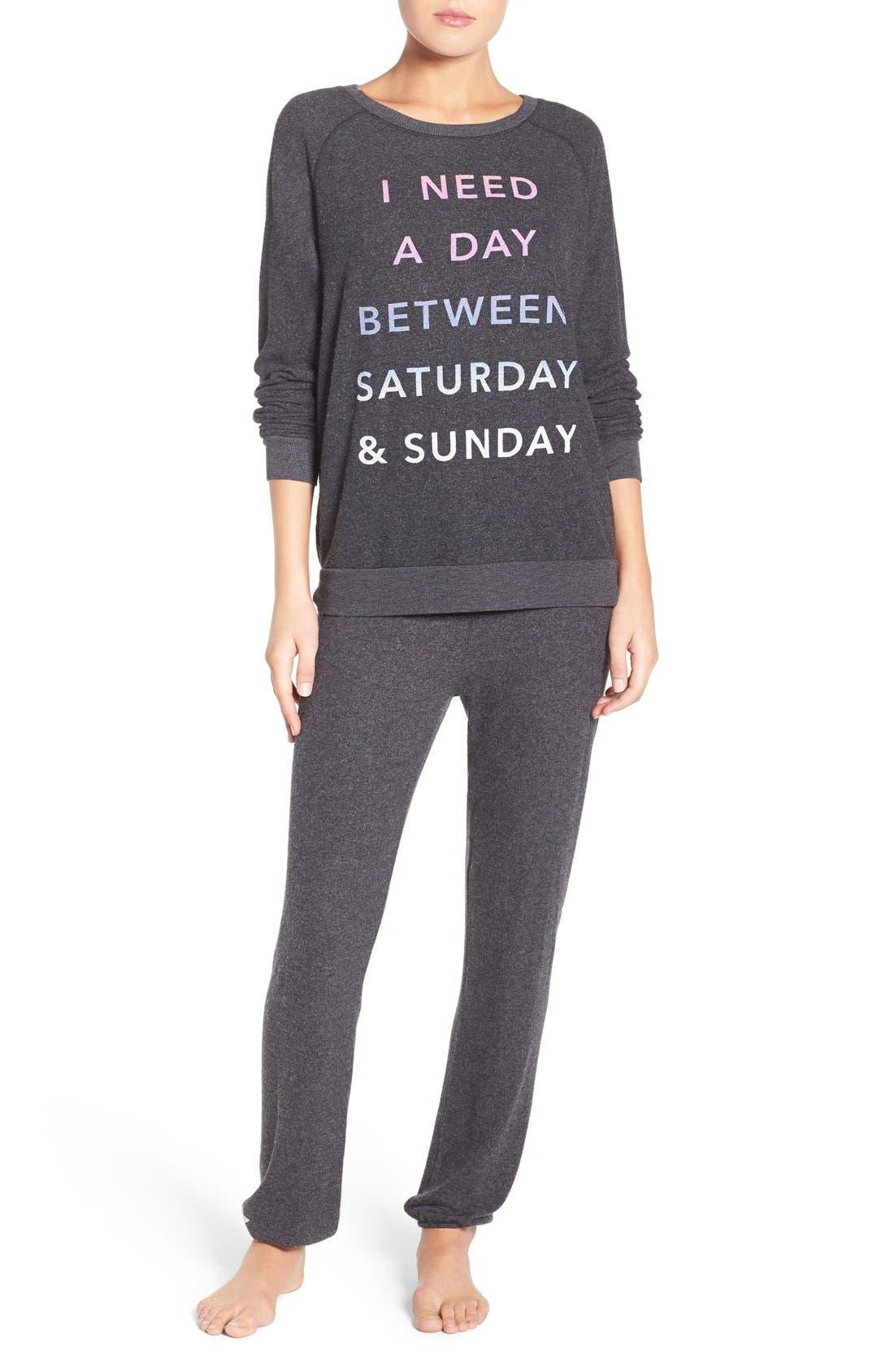 'Saturday & Sunday' Hacci Sweatshirt,                             Alternate thumbnail 5, color,                             019