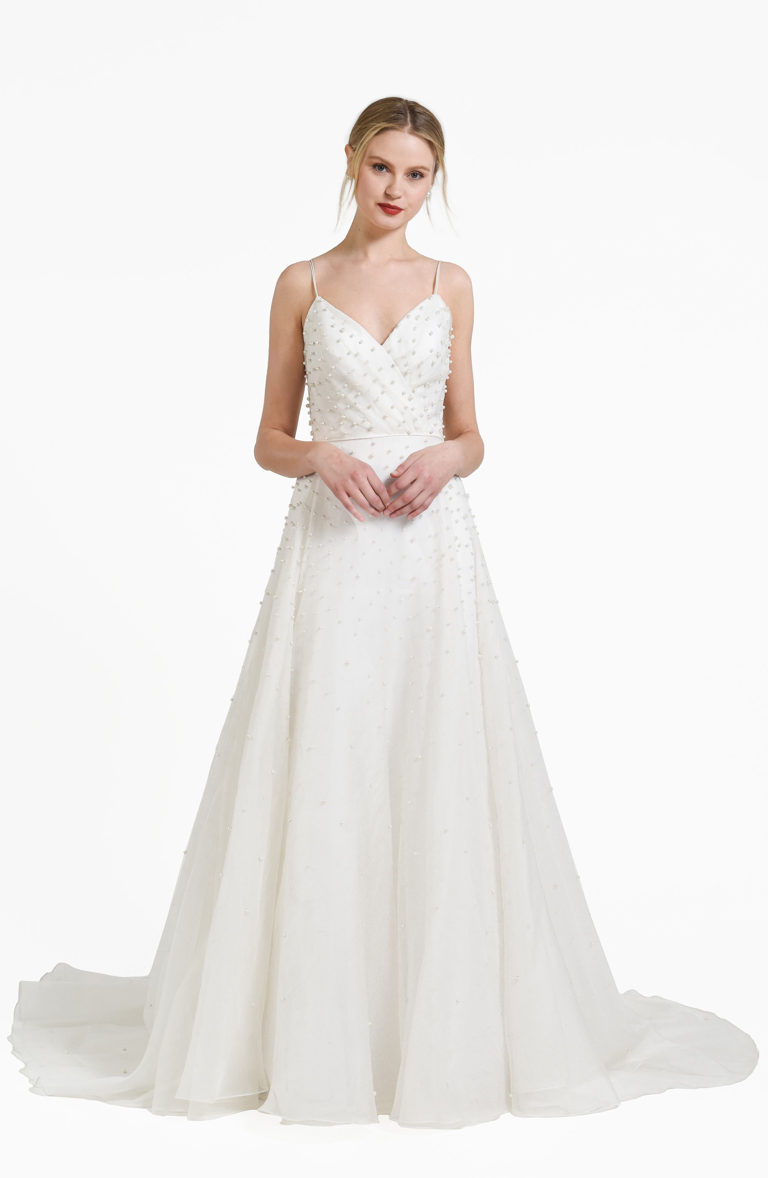 Jenny By Jenny Yoo Presley Beaded Organza A-Line Gown, Ivory