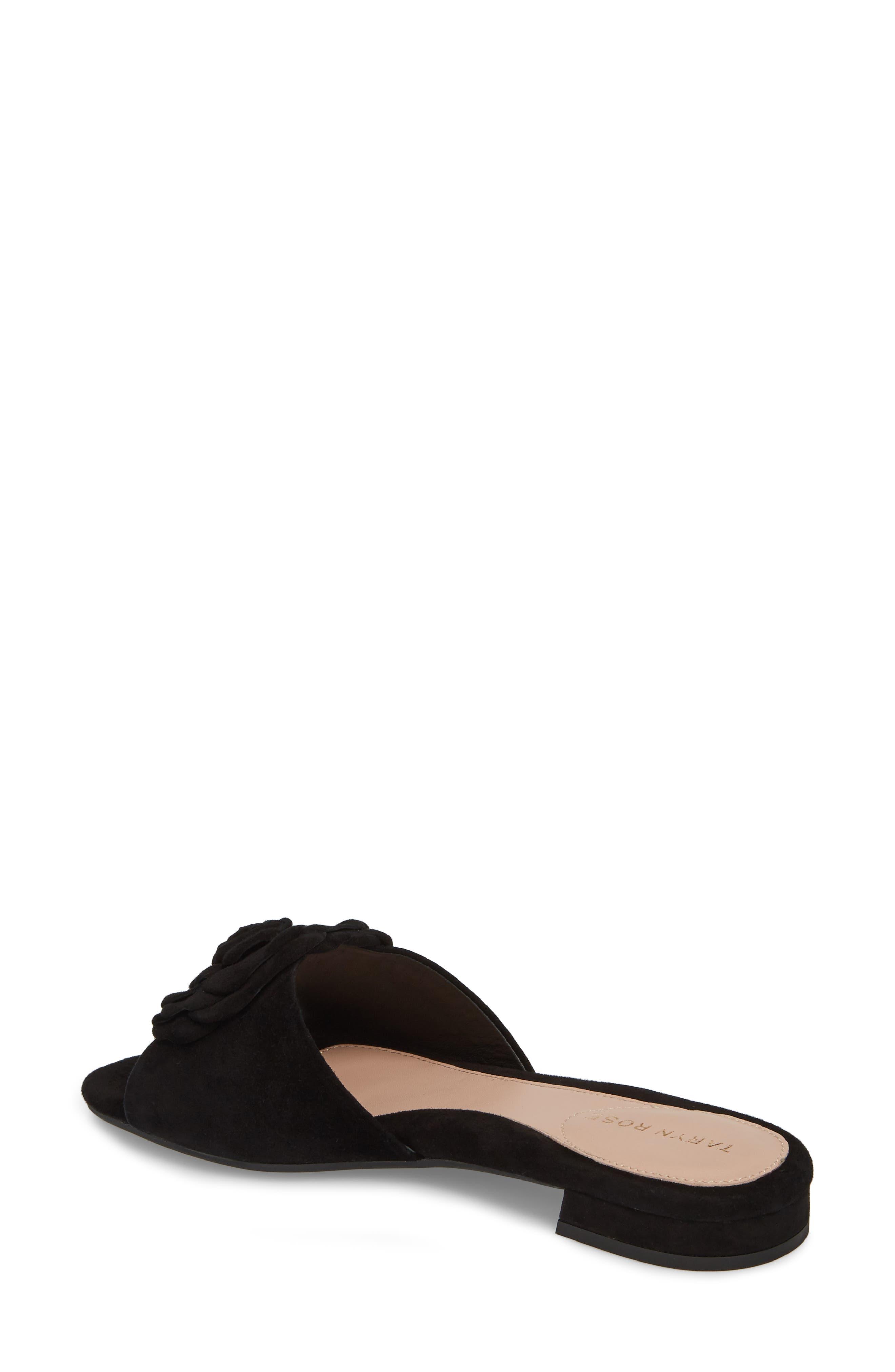 Violet Flower Slide Sandal,                             Alternate thumbnail 2, color,                             BLACK SUEDE