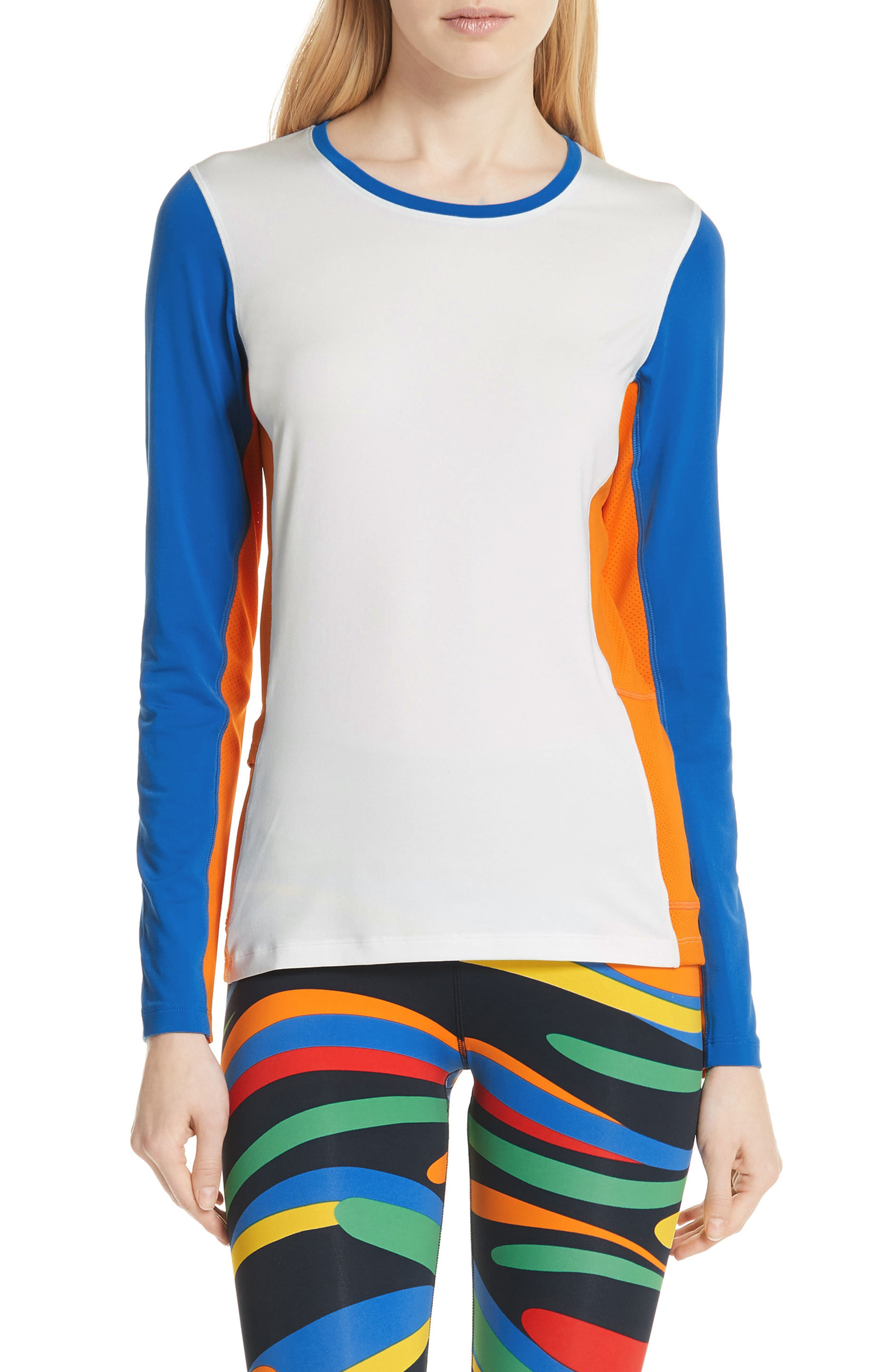 Tory Sport Colorblock Performance Top, White