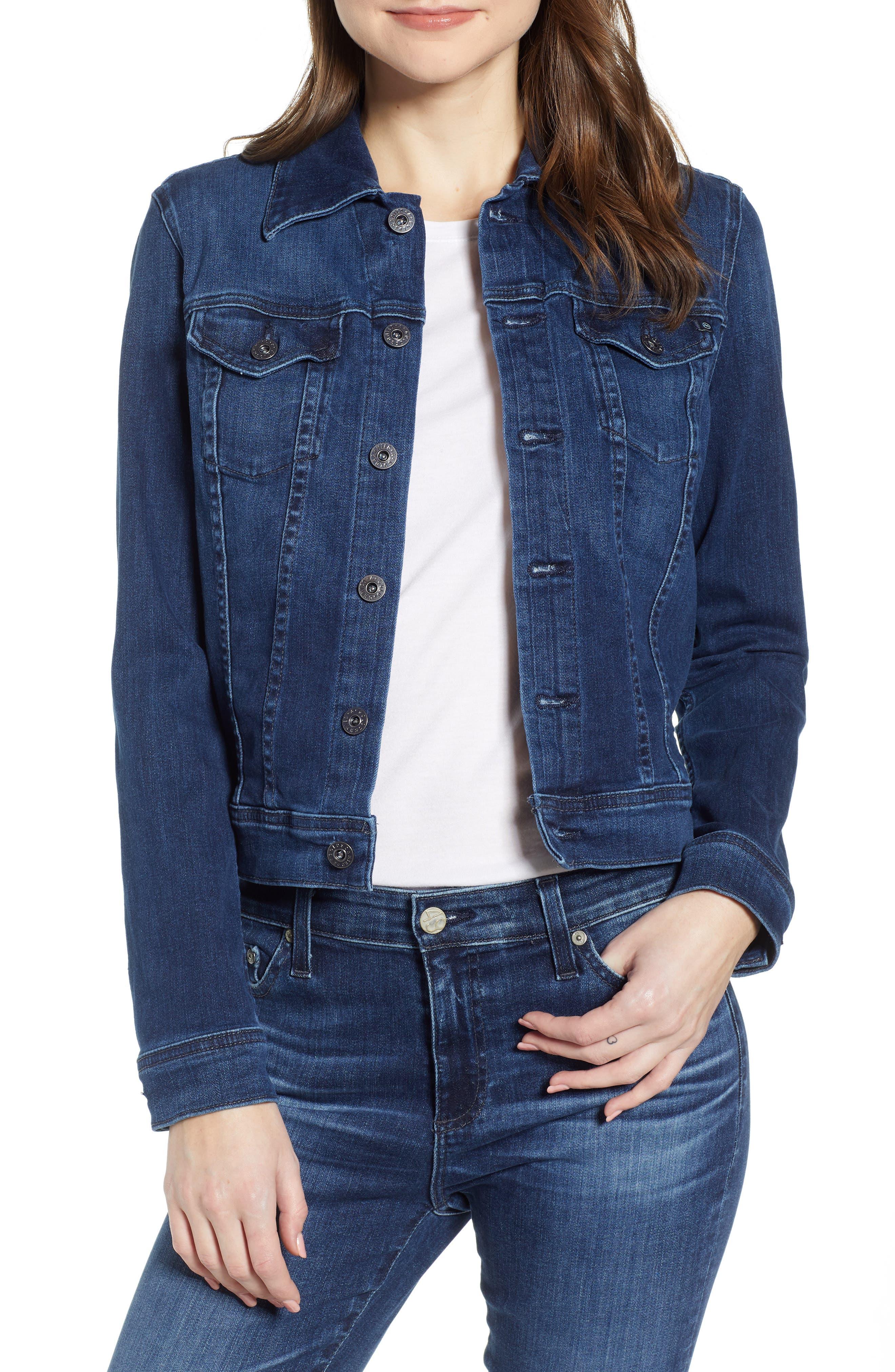 Robyn Crop Denim Jacket, Main, color, PINNACLE BLUE