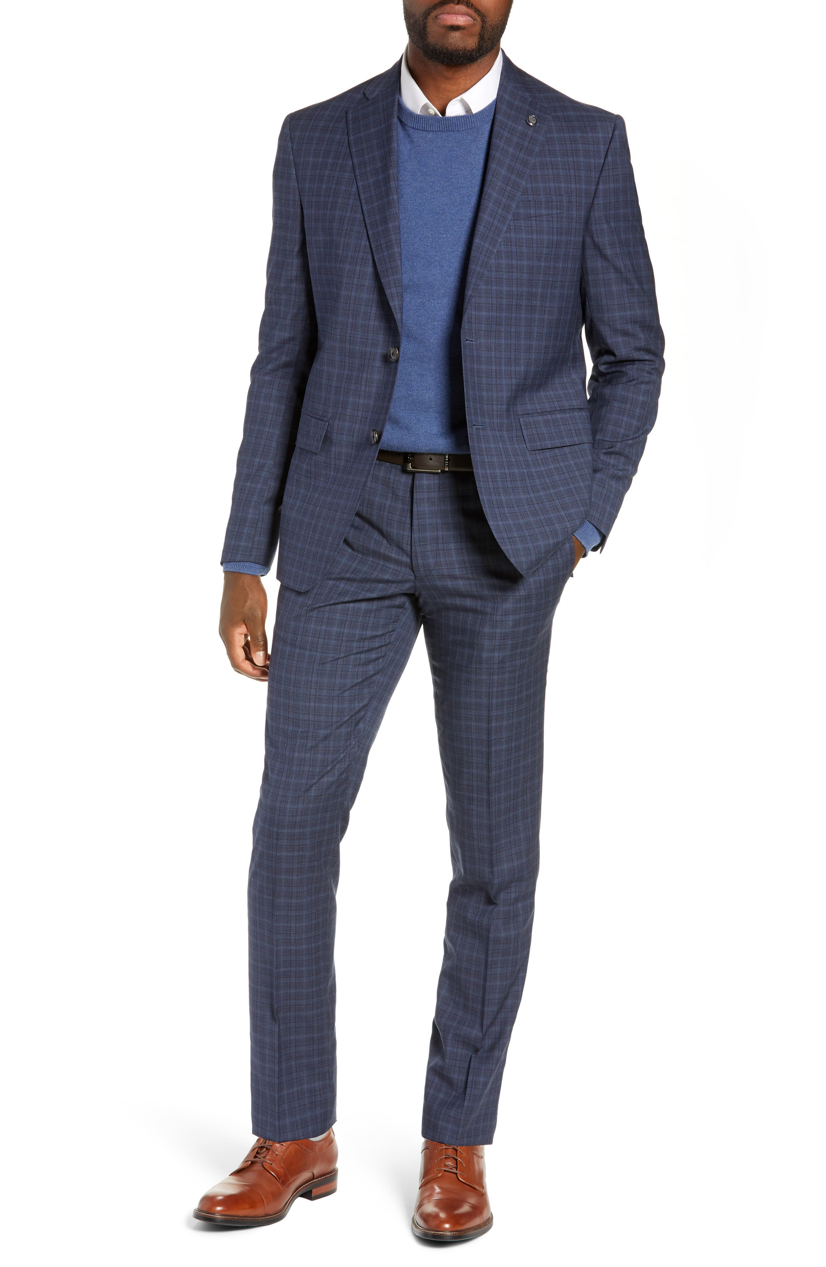 TED BAKER LONDON,                             Roger Slim Fit Plaid Wool Suit,                             Main thumbnail 1, color,                             GREY