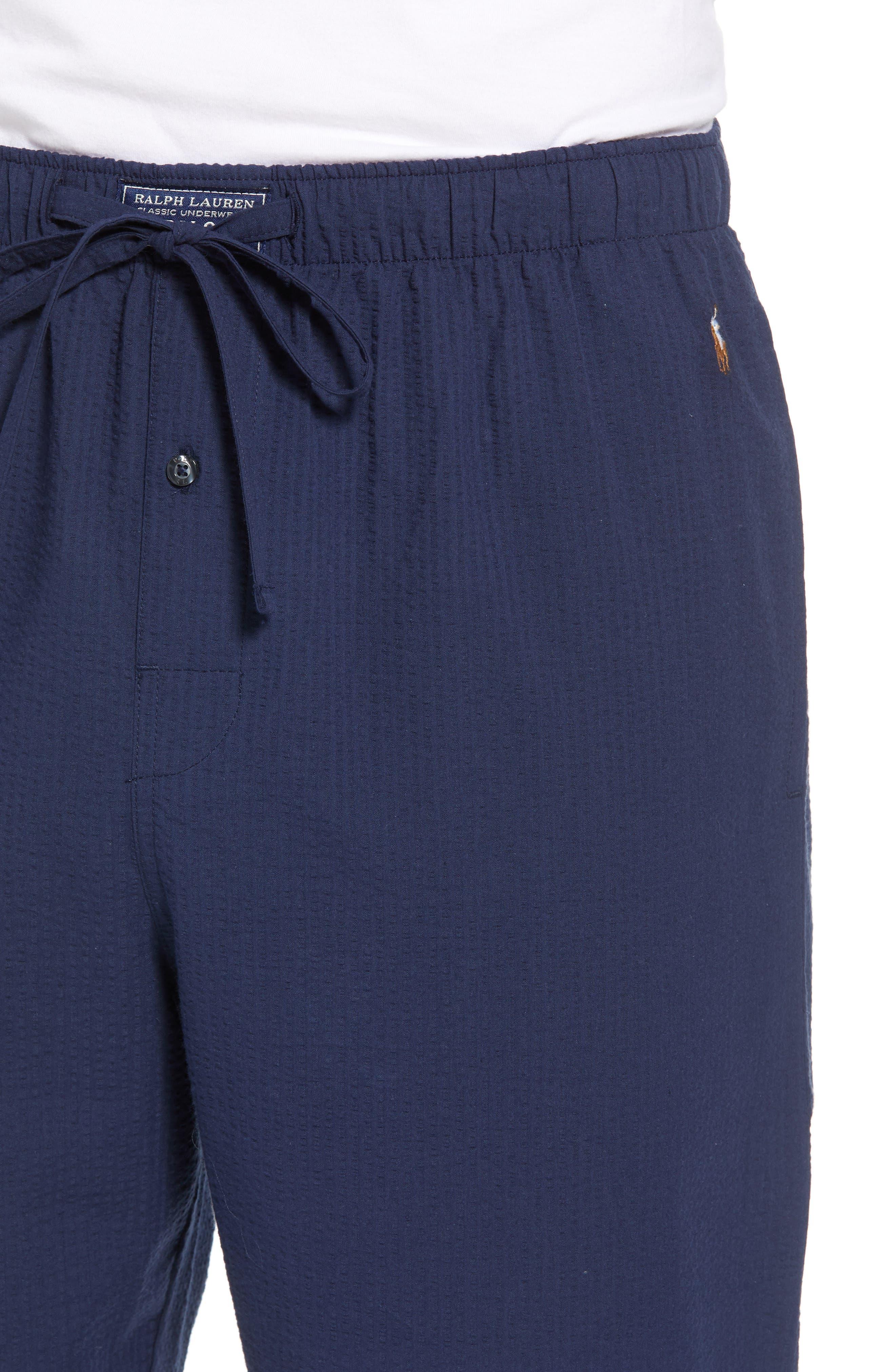 Seersucker Pajama Pants,                             Alternate thumbnail 4, color,                             NAVY SEERSUCKER