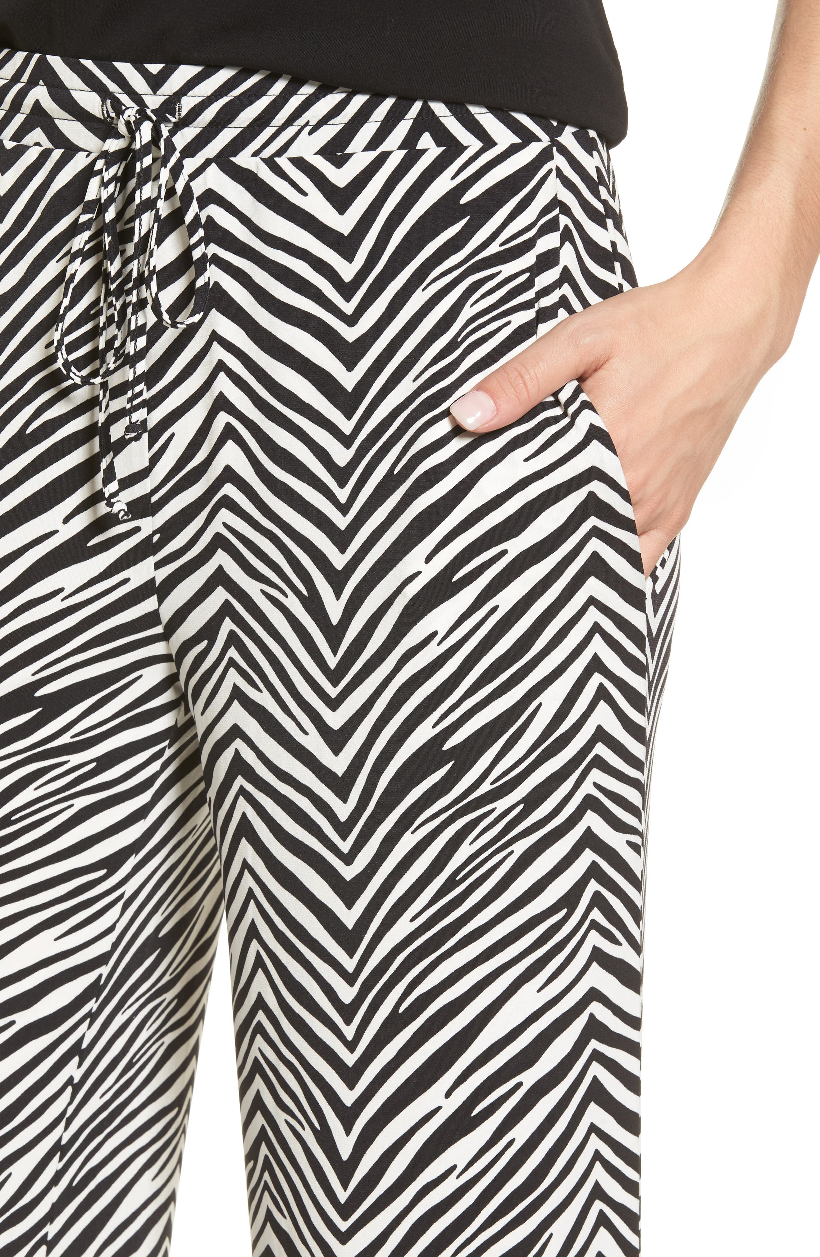 Zebra Print Drawstring Waist Pants,                             Alternate thumbnail 4, color,                             010