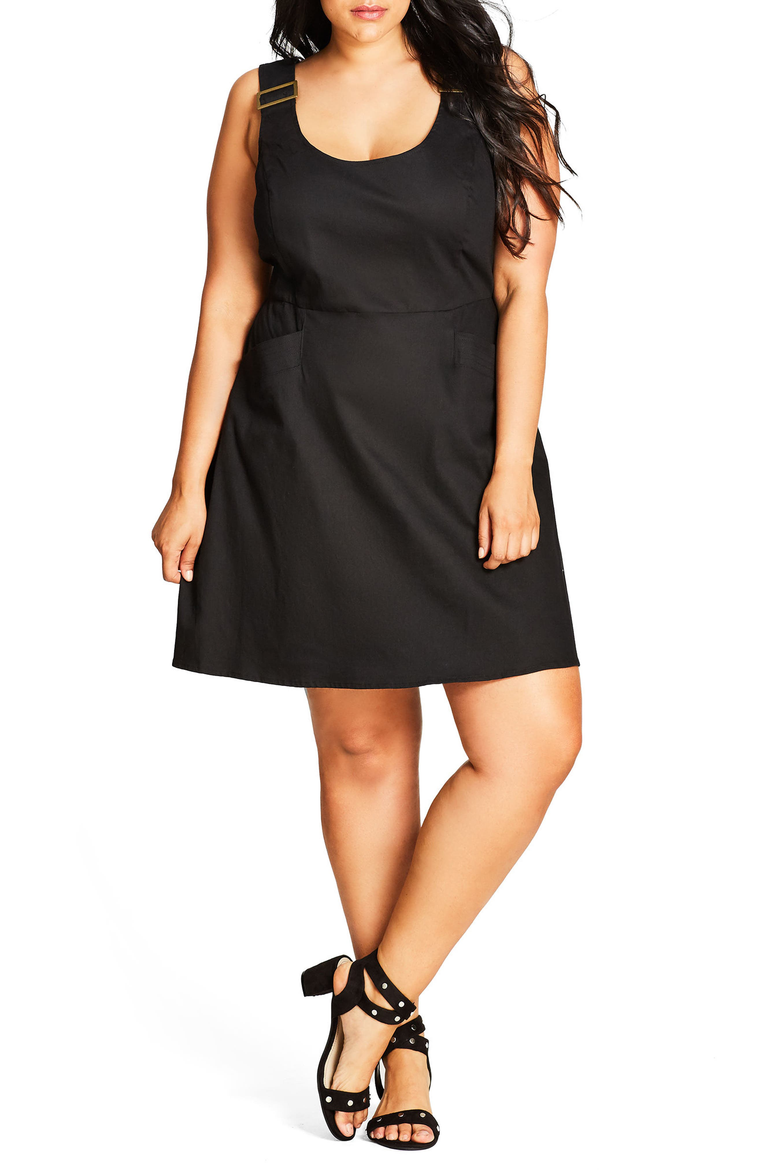 Cute Overall Dress,                             Alternate thumbnail 2, color,                             001