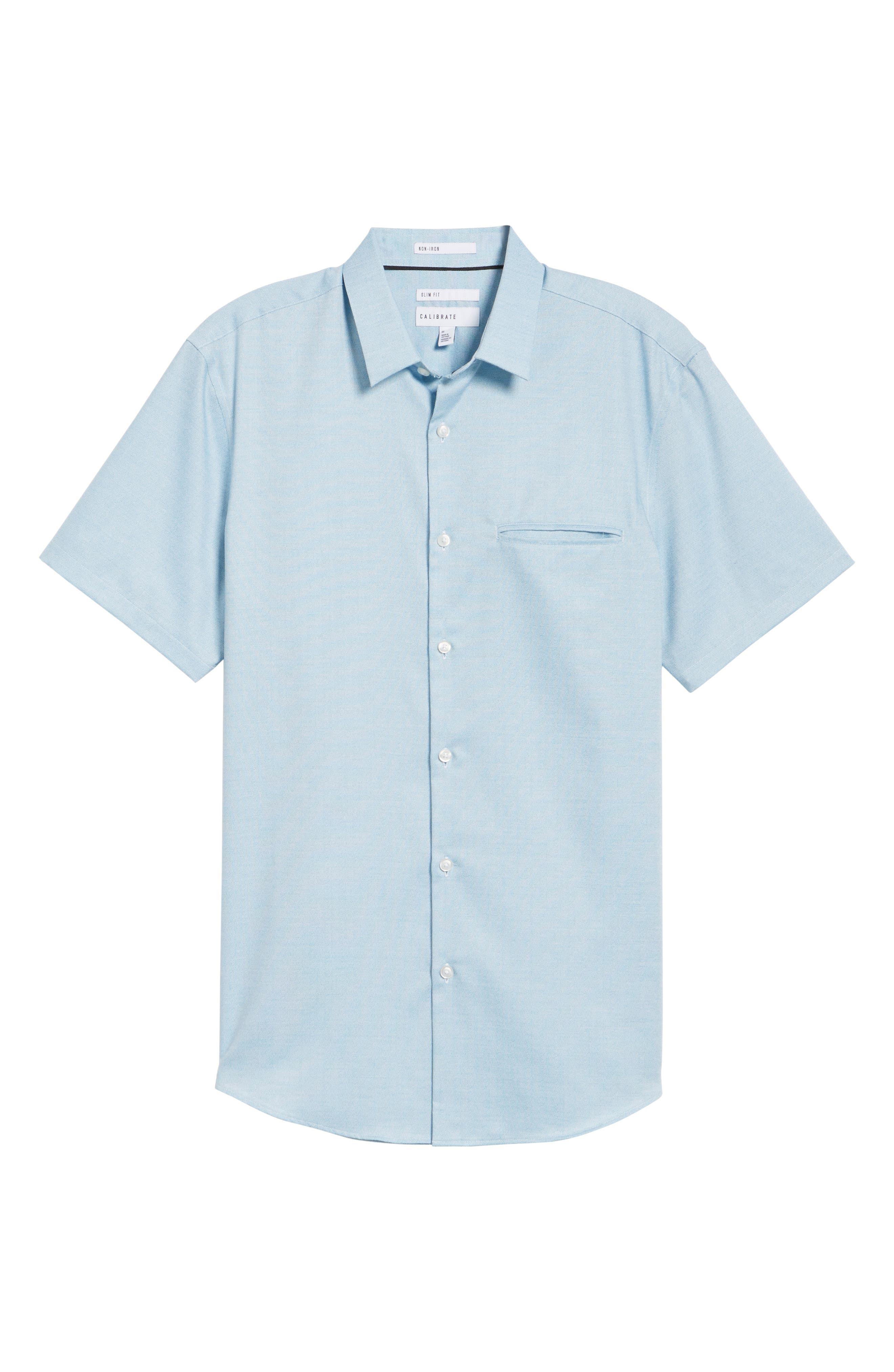 Trim Fit Jaspé Short Sleeve Sport Shirt,                             Alternate thumbnail 17, color,