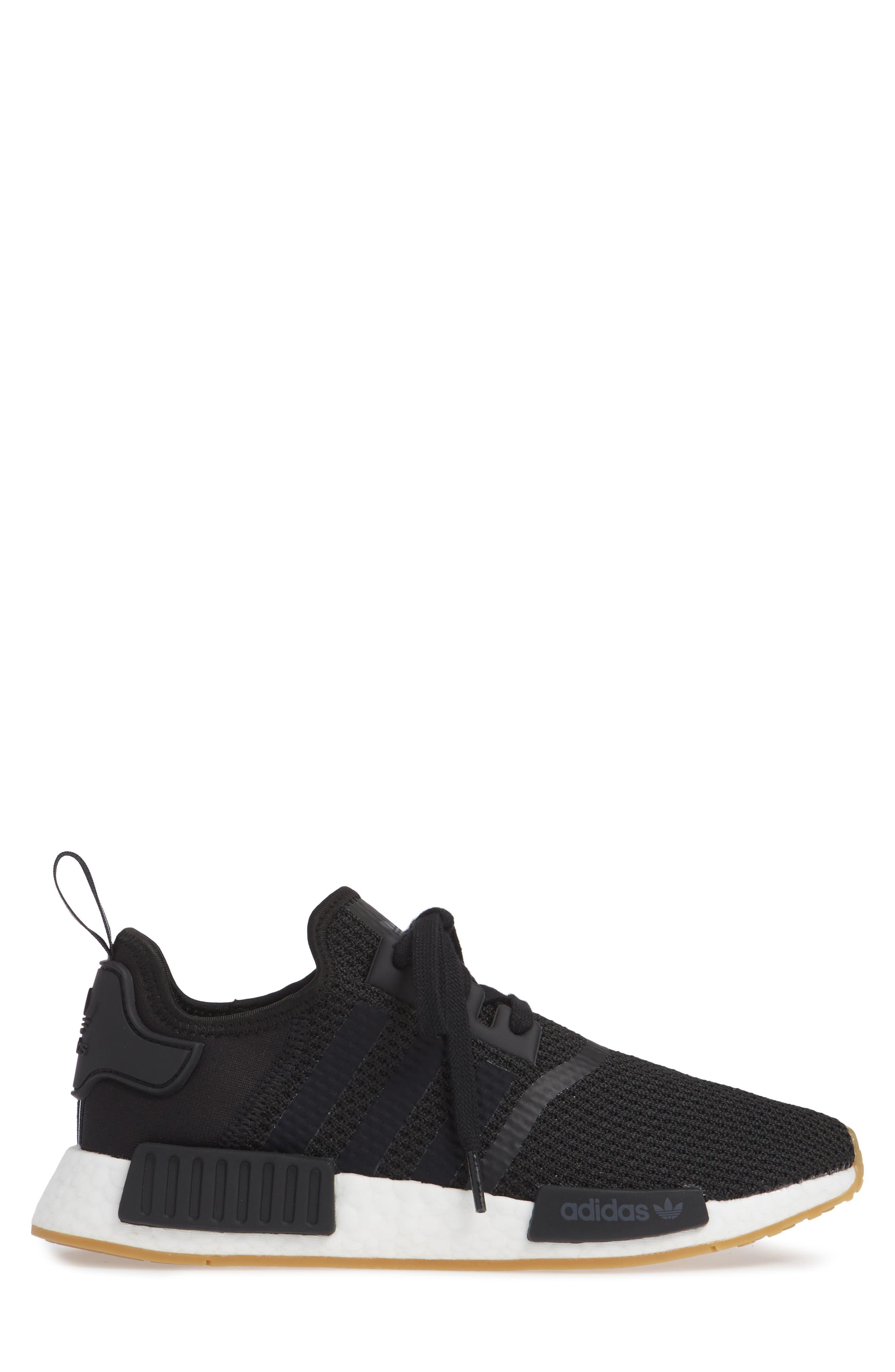 Originals NMD R1 Sneaker,                             Alternate thumbnail 3, color,                             BLACK/ BLACK/ GUM
