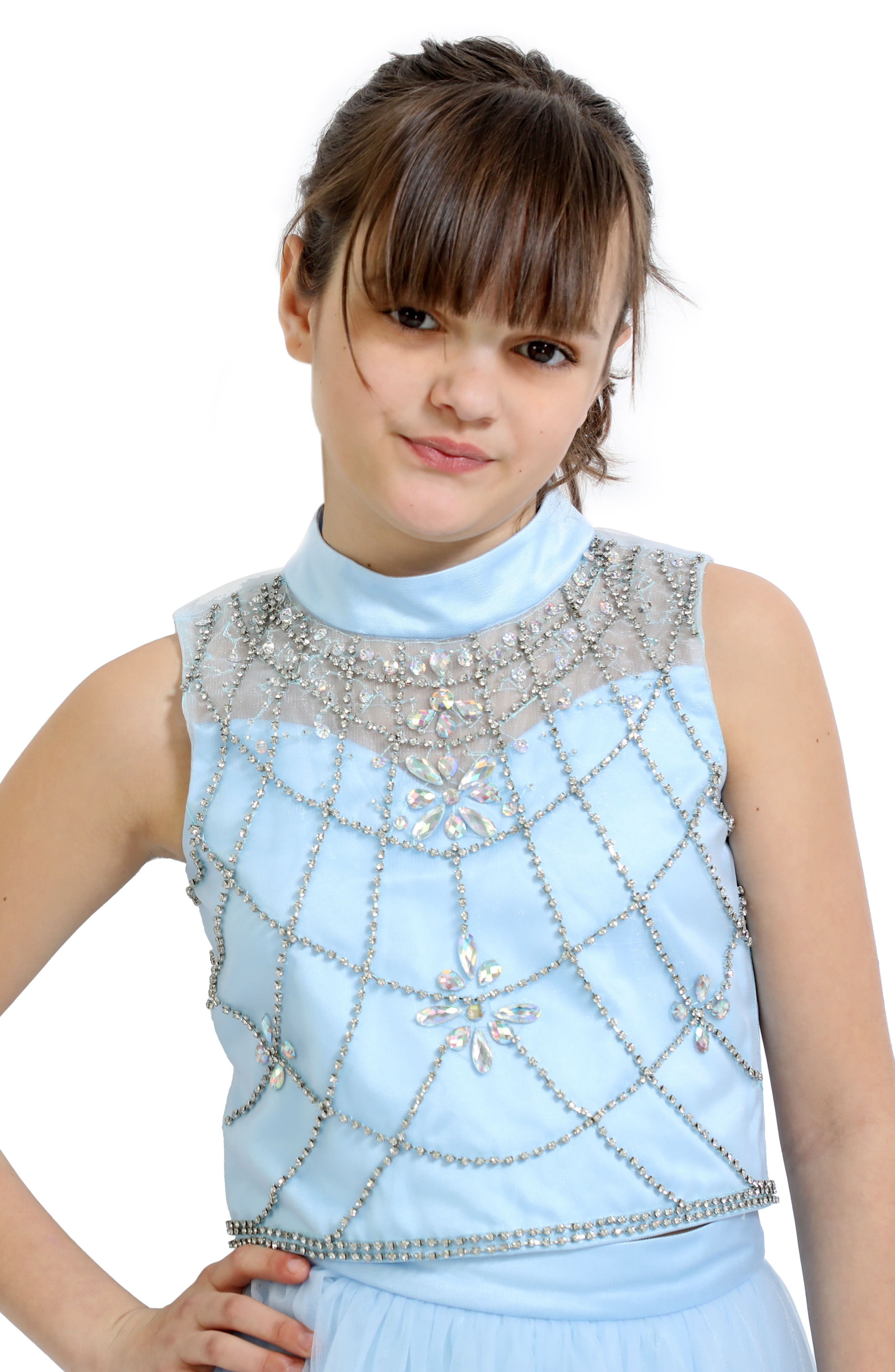 Embellished Top & Tulle Skirt Set,                             Alternate thumbnail 2, color,                             BLUE