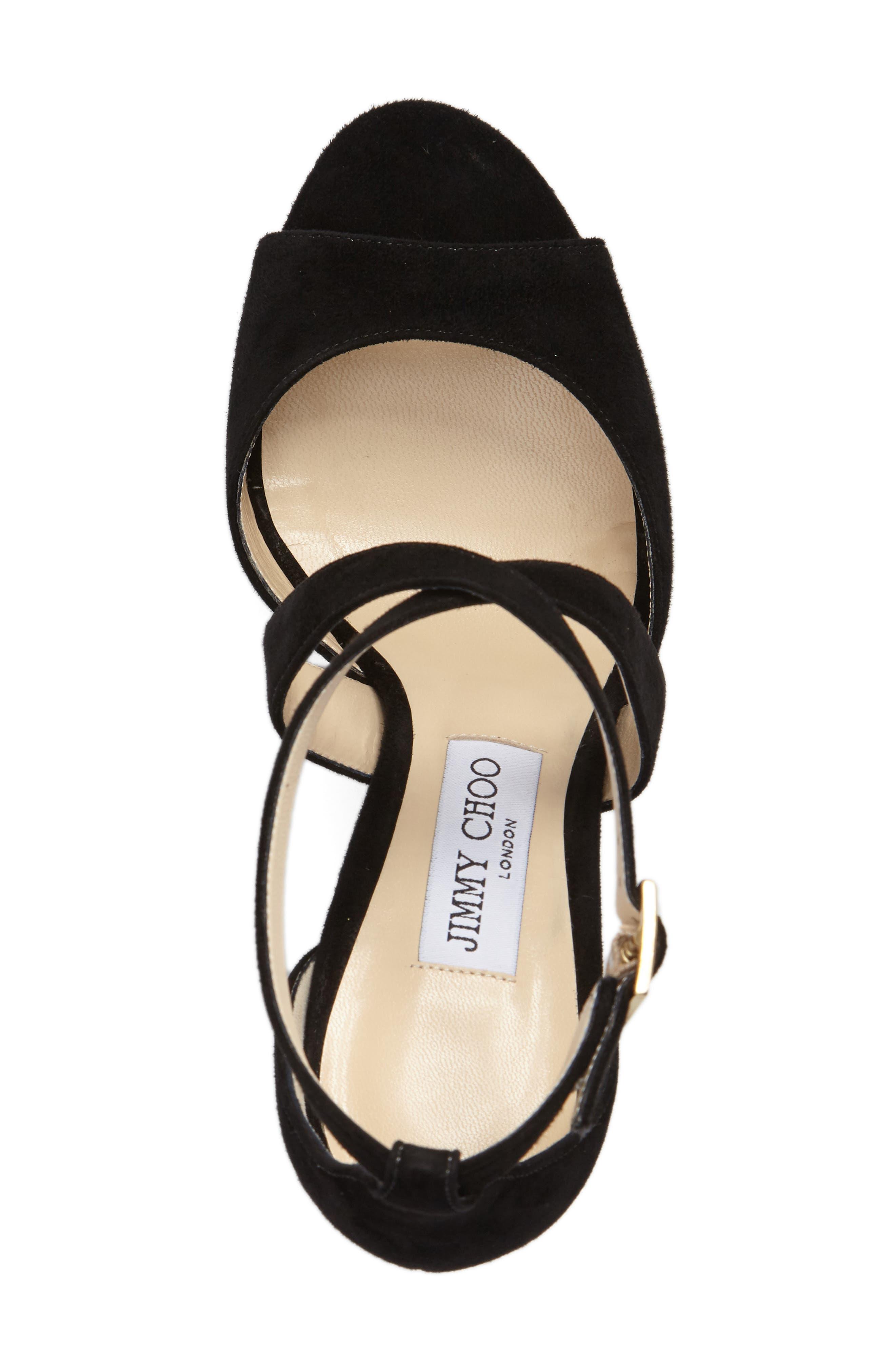 April Platform Sandal,                             Alternate thumbnail 4, color,                             BLACK SUEDE