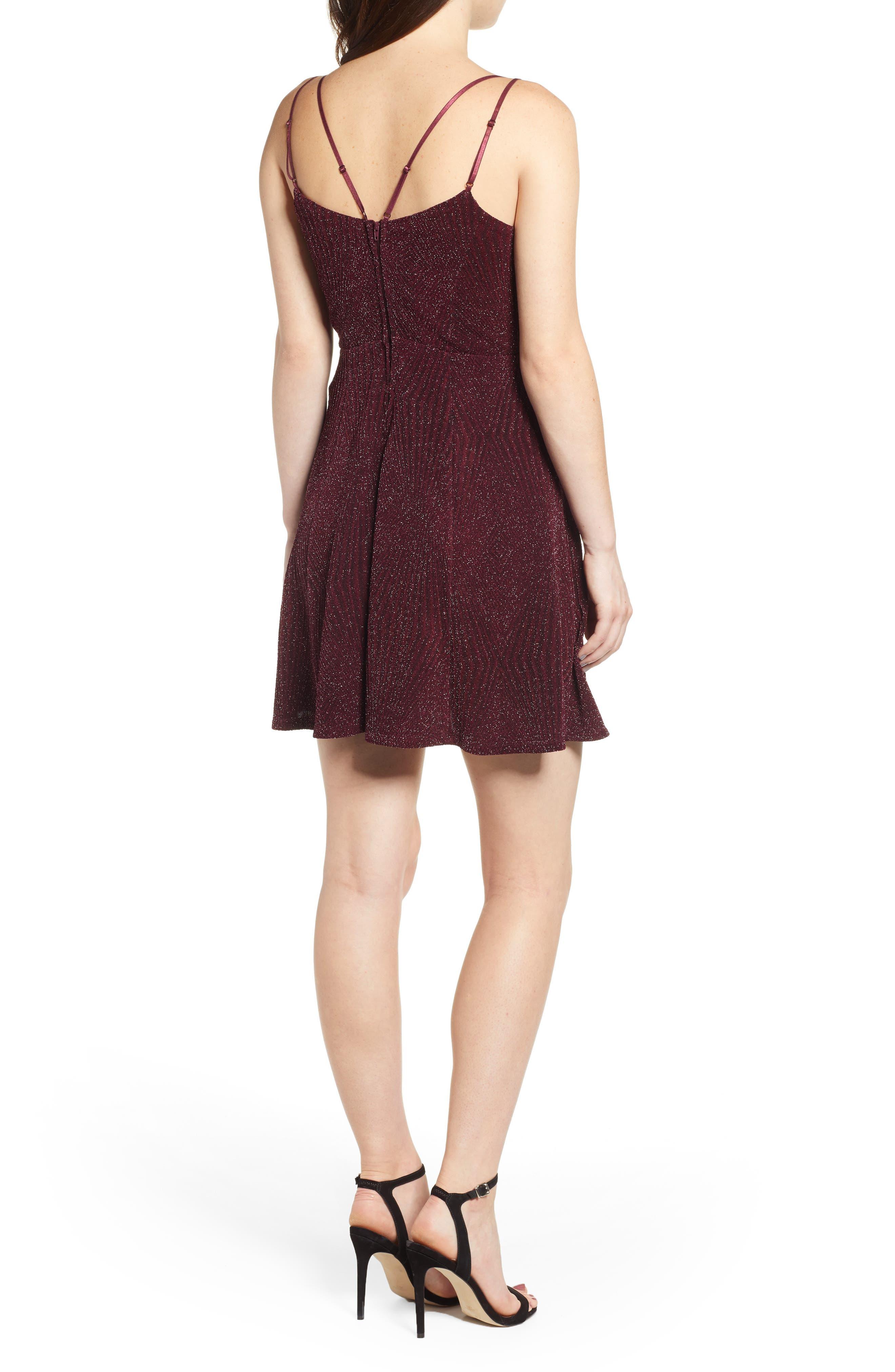 Glitter Knit Strappy Skater Dress,                             Alternate thumbnail 2, color,                             200