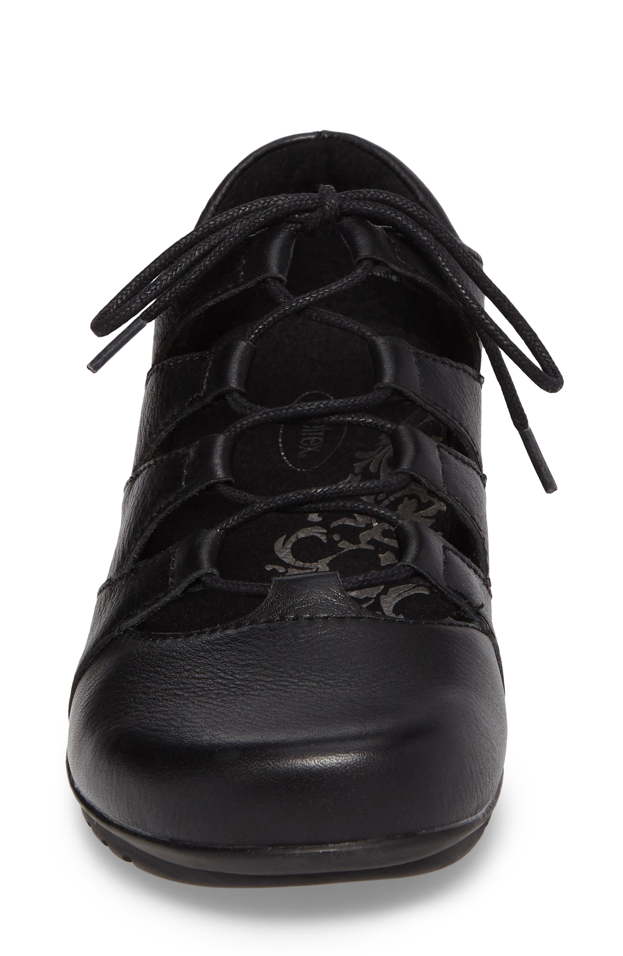 Sienna Cutout Sneaker,                             Alternate thumbnail 4, color,                             BLACK LEATHER/ BLACK