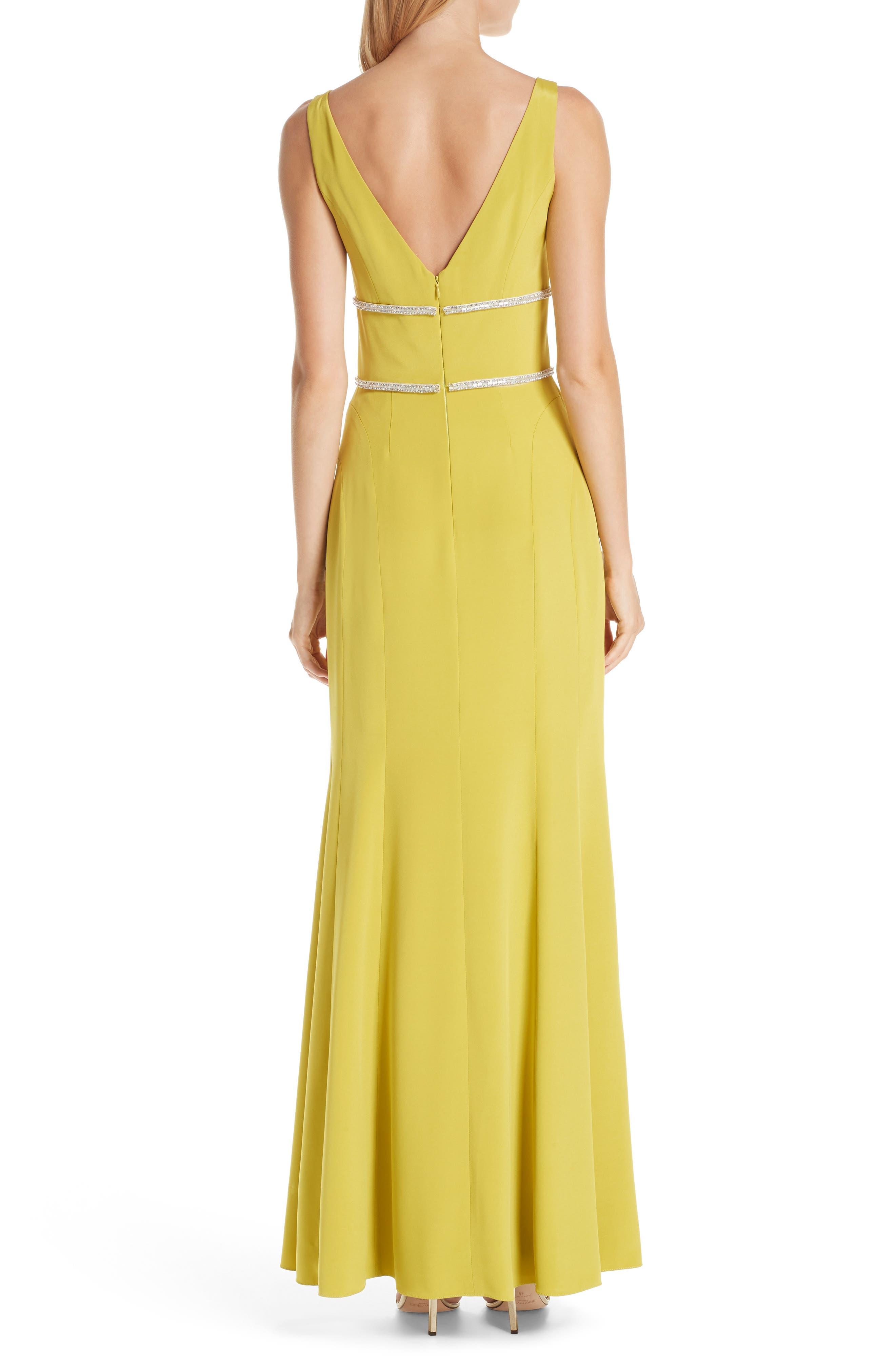 VERDIN,                             Embellished Silk V-Neck Evening Dress,                             Alternate thumbnail 2, color,                             CITRUS
