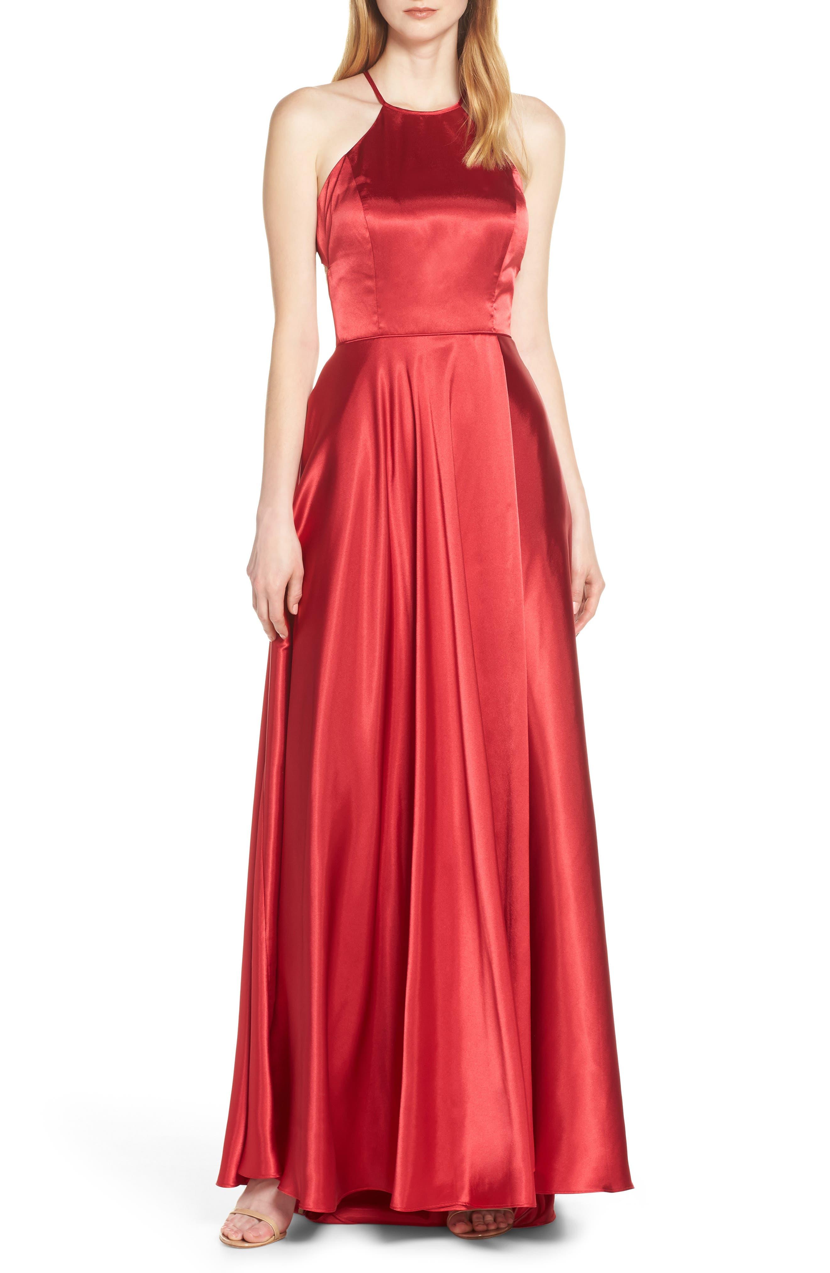 Blondie Nites Back Tie Charmeuse Evening Dress, Red