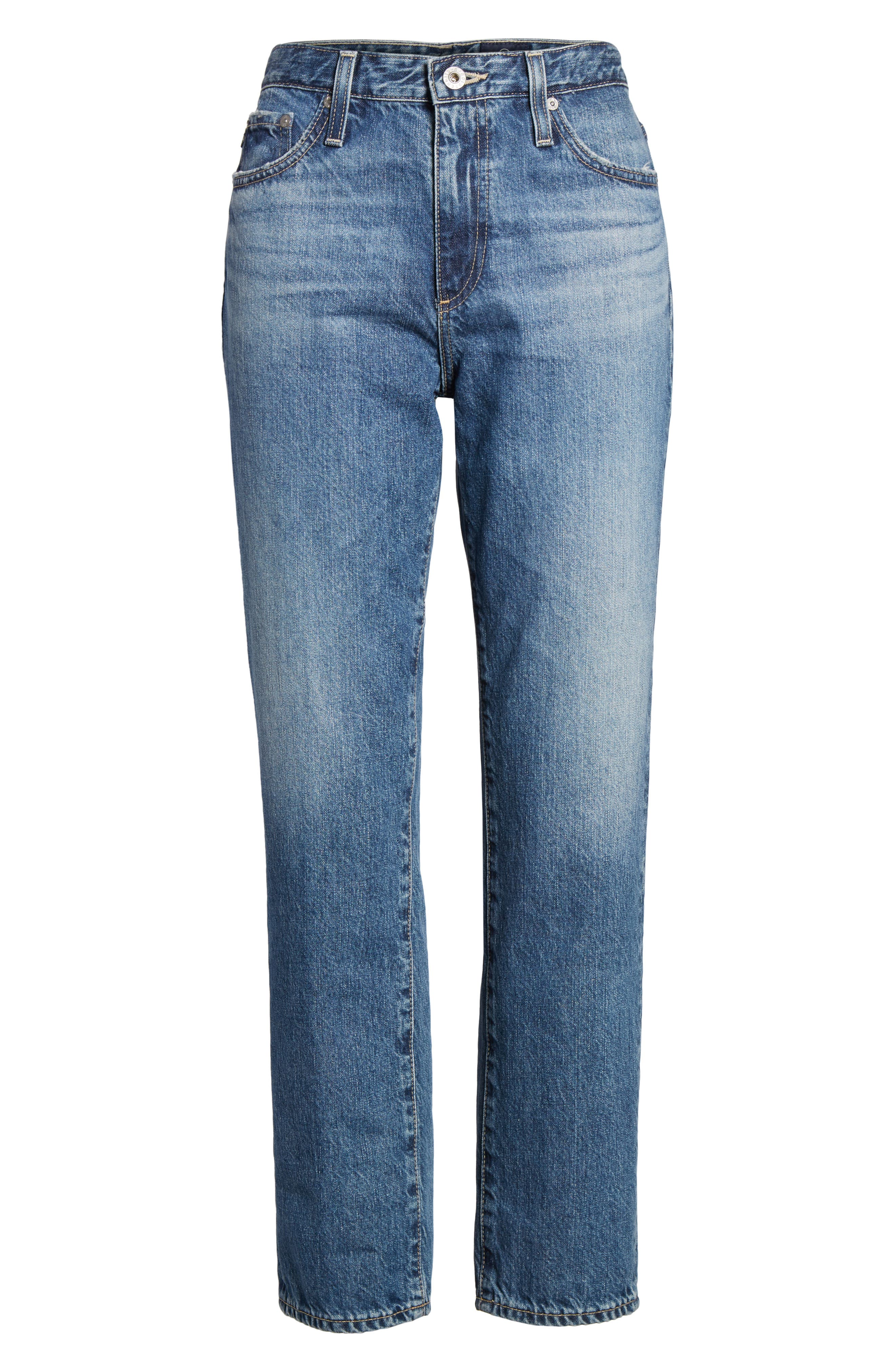 Isabelle High Waist Straight Leg Crop Jeans,                             Alternate thumbnail 7, color,                             436