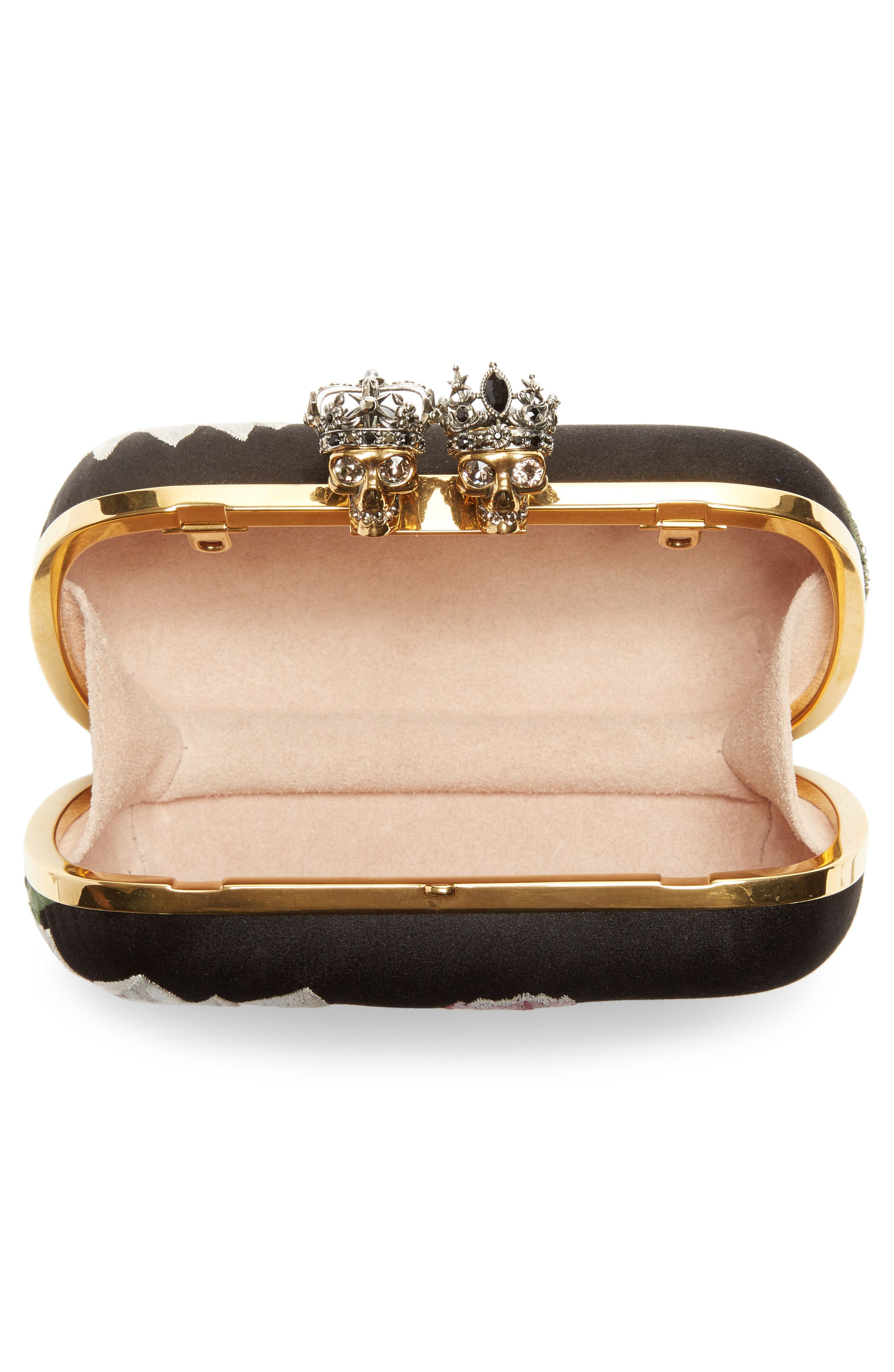 Queen & King Embroidered Satin Clutch,                             Alternate thumbnail 4, color,                             964