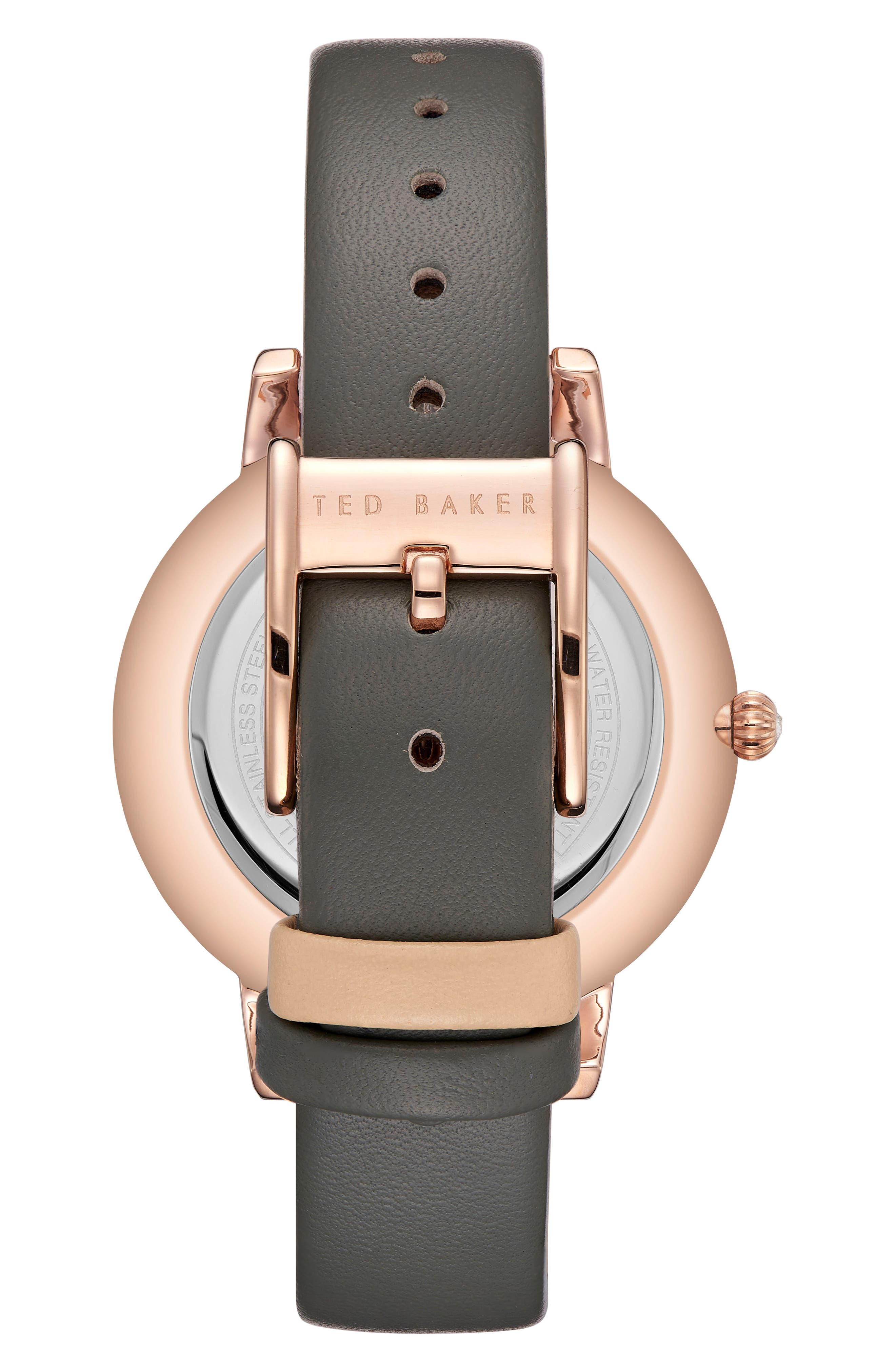Olivia Leather Strap Watch,                             Alternate thumbnail 2, color,                             GREY/ WHITE/ ROSE GOLD