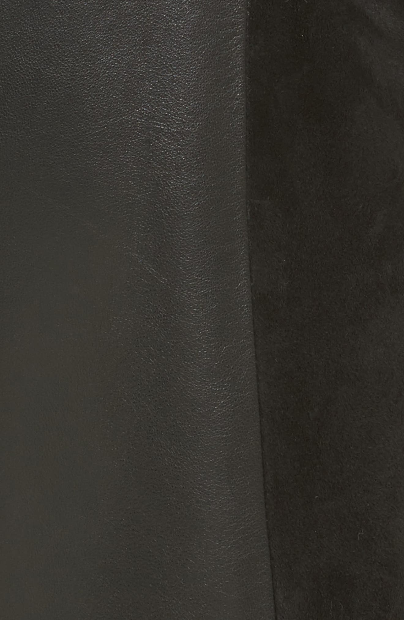 Paneled Suede & Leather Pants,                             Alternate thumbnail 5, color,                             001