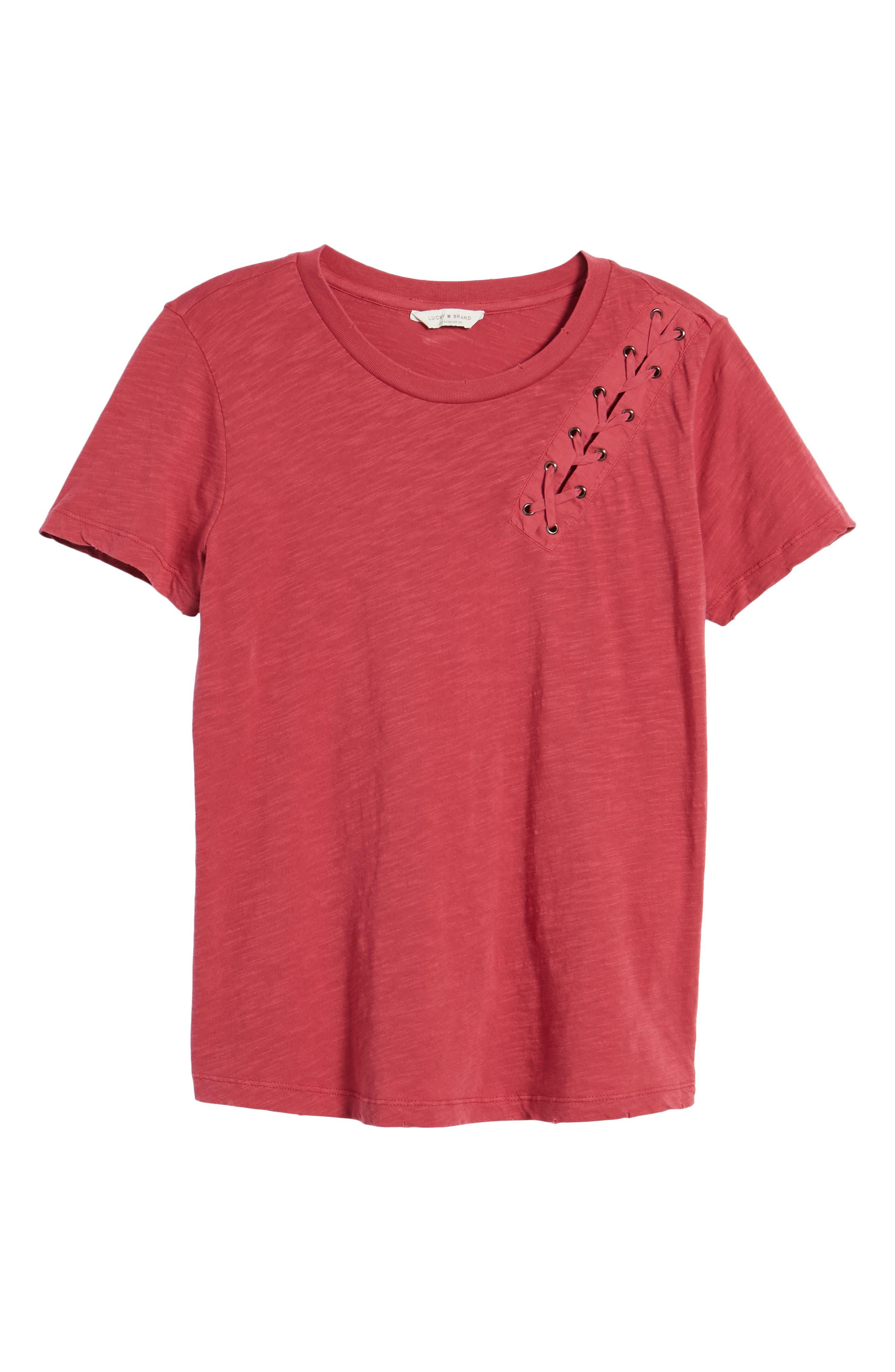 Lace-Up Shoulder Cotton Tee,                             Alternate thumbnail 13, color,