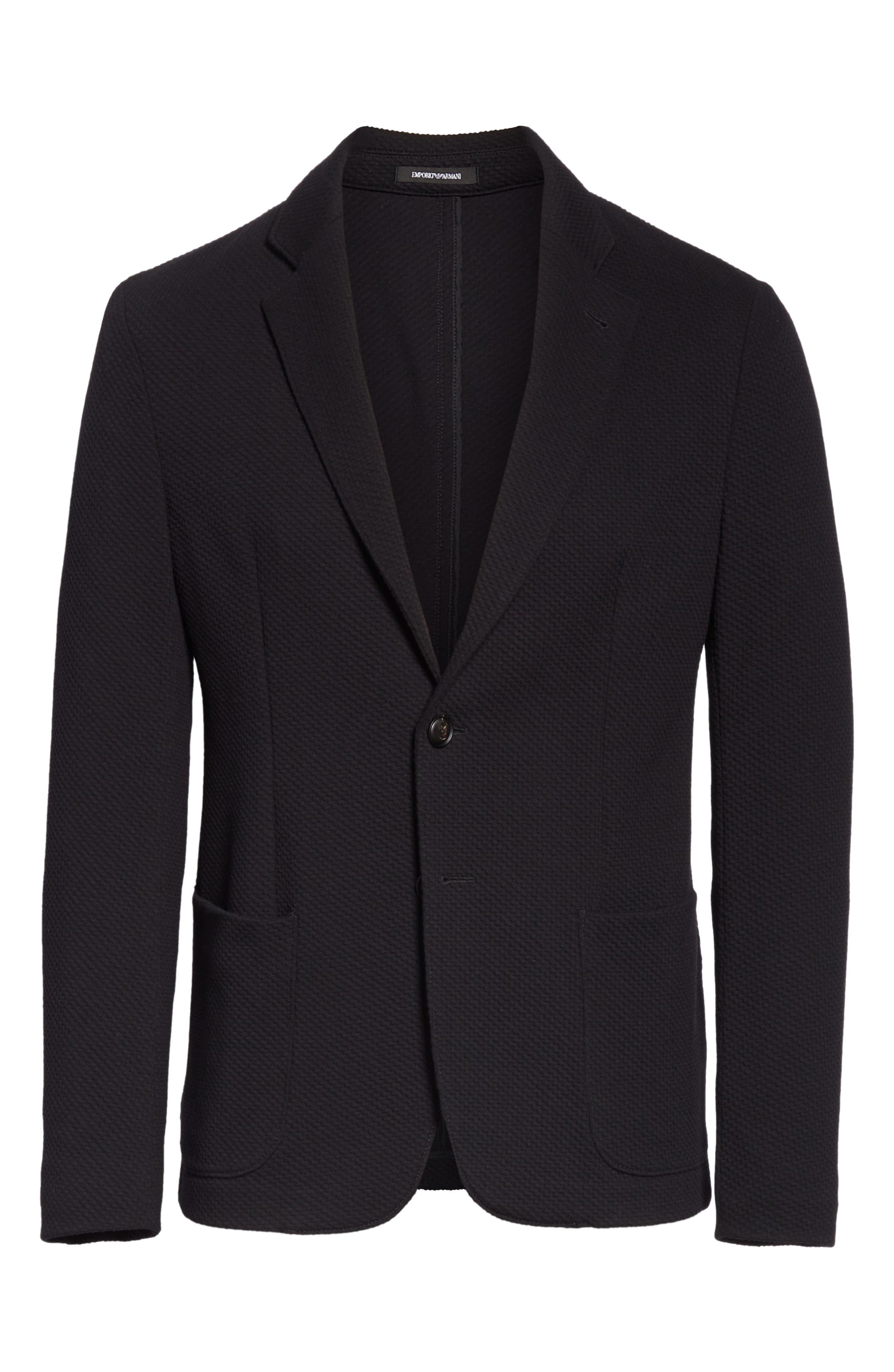 Slim Fit Stretch Cotton Blend Sport Coat,                             Alternate thumbnail 5, color,                             BLACK