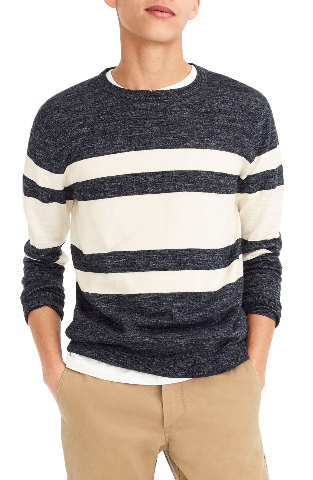 Multistripe Cotton & Linen Blend Crewneck Sweater,                             Main thumbnail 1, color,                             400