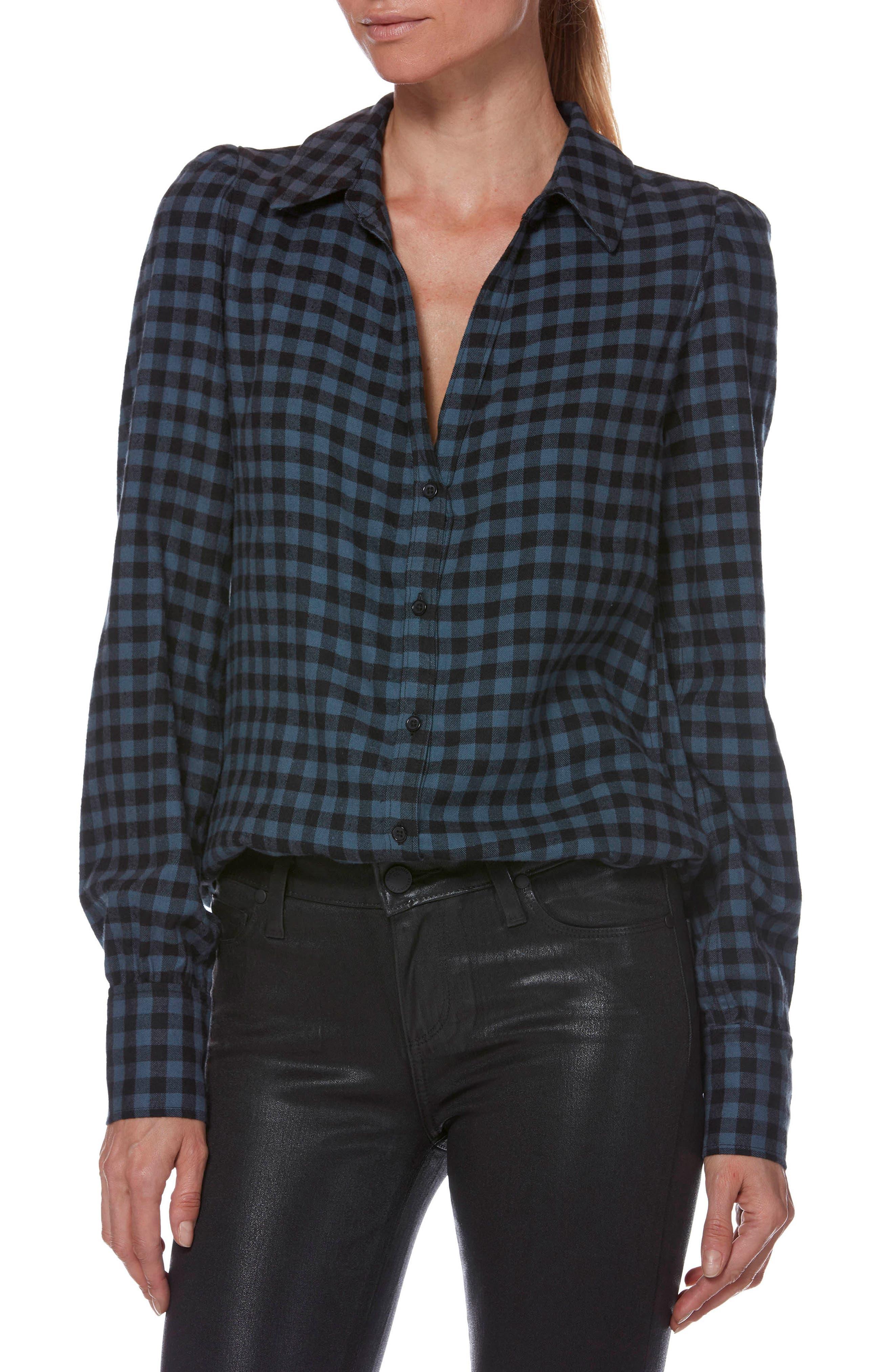Enid Check Shirt,                             Main thumbnail 1, color,                             BLACK / MIDNIGHT SLATE