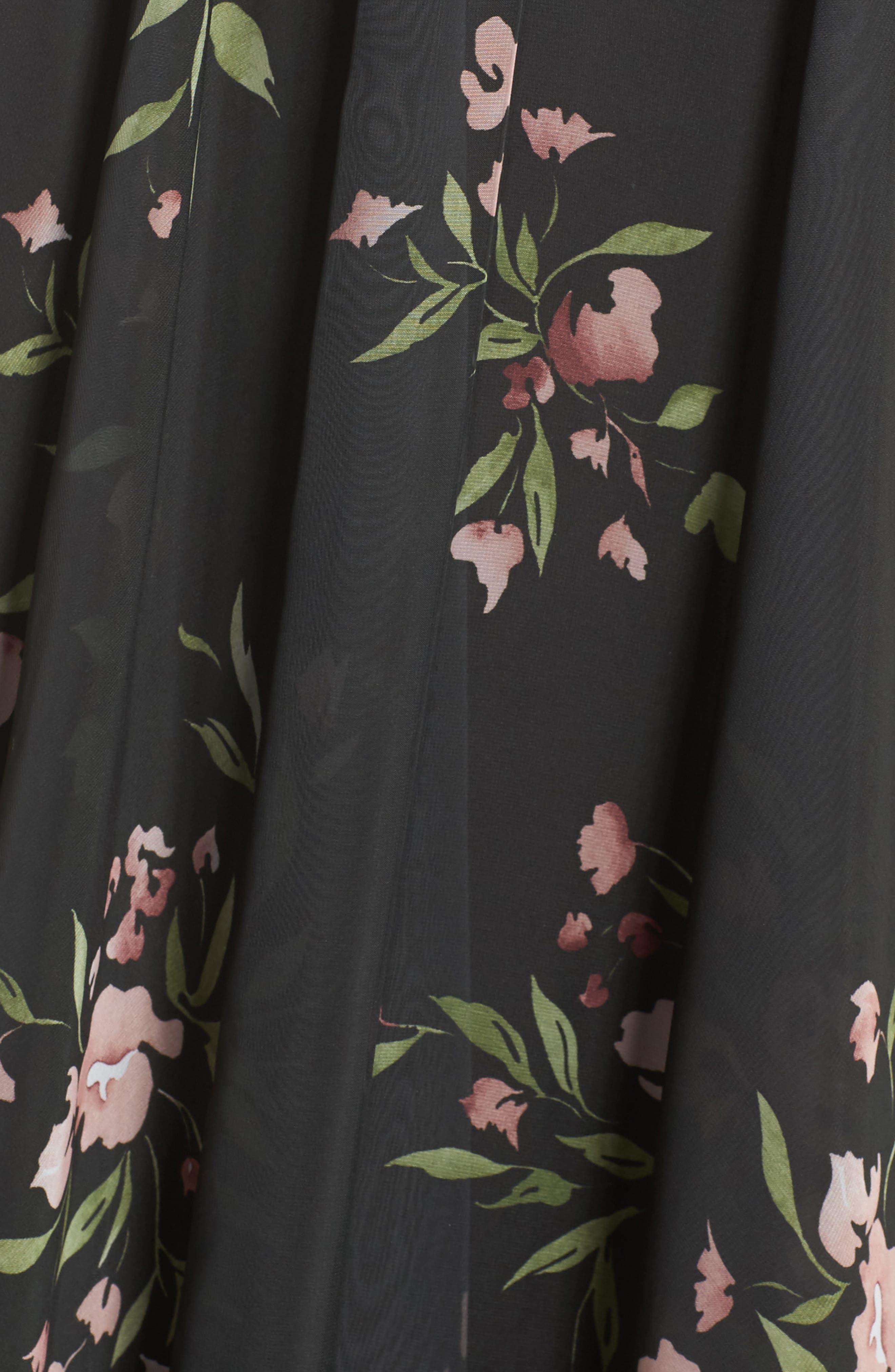 Cassie Flutter Sleeve Surplice Gown,                             Alternate thumbnail 5, color,                             001