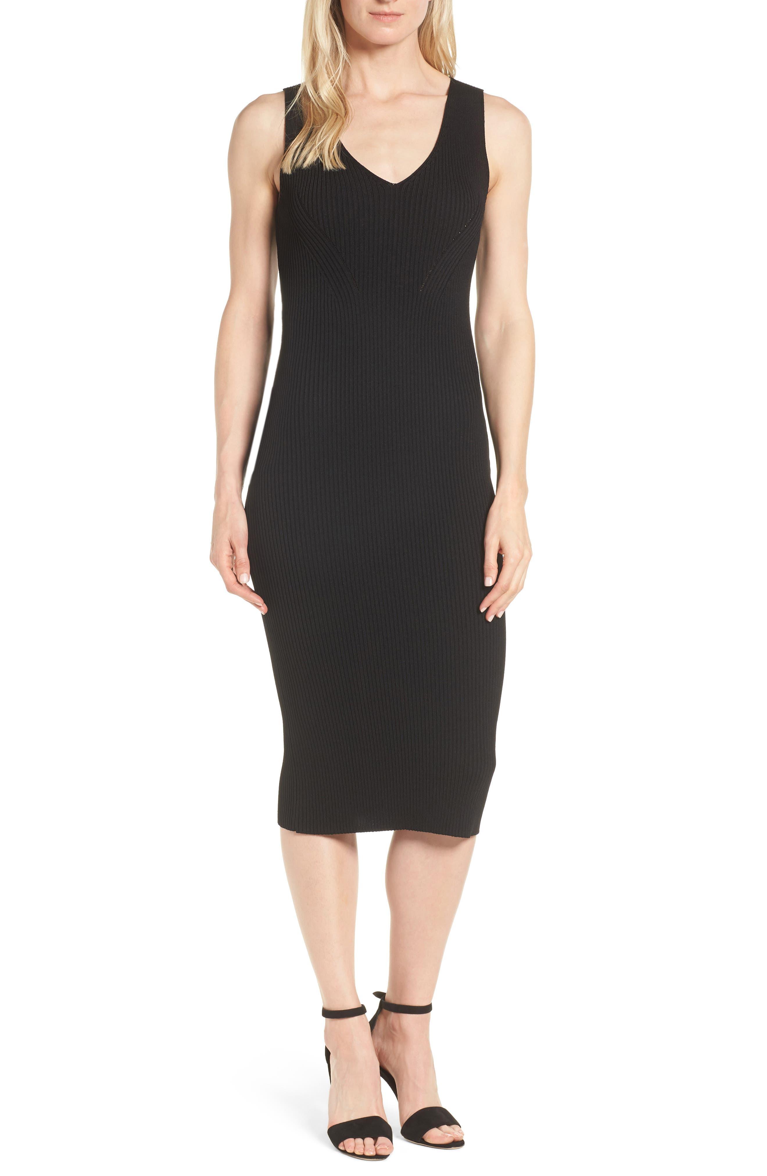 V-Neck Rib Knit Sweater Dress, Main, color, BLACK