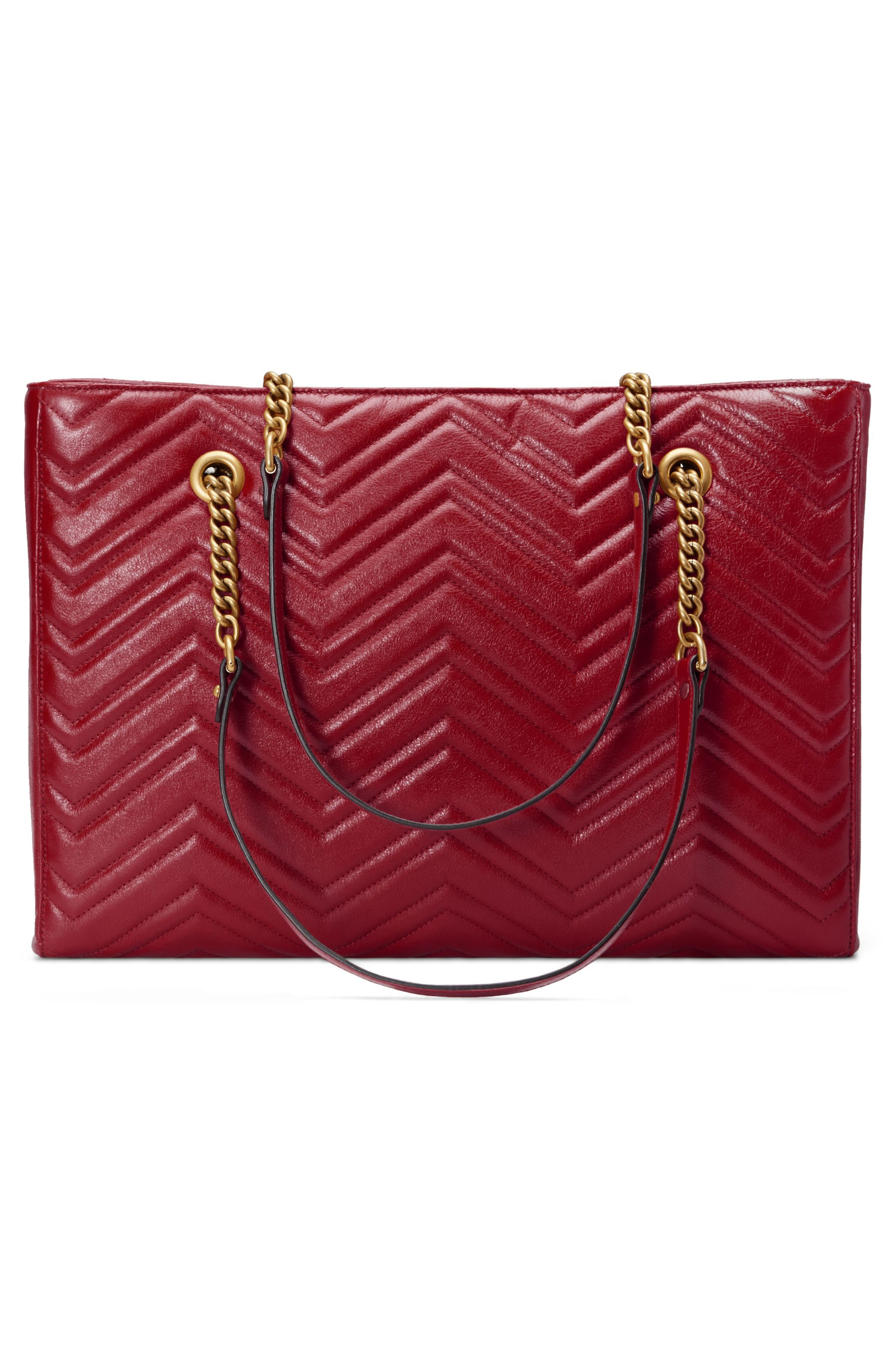 GG Marmont 2.0 Matelassé Medium Leather East/West Tote Bag,                             Alternate thumbnail 3, color,                             CERISE/ CERISE