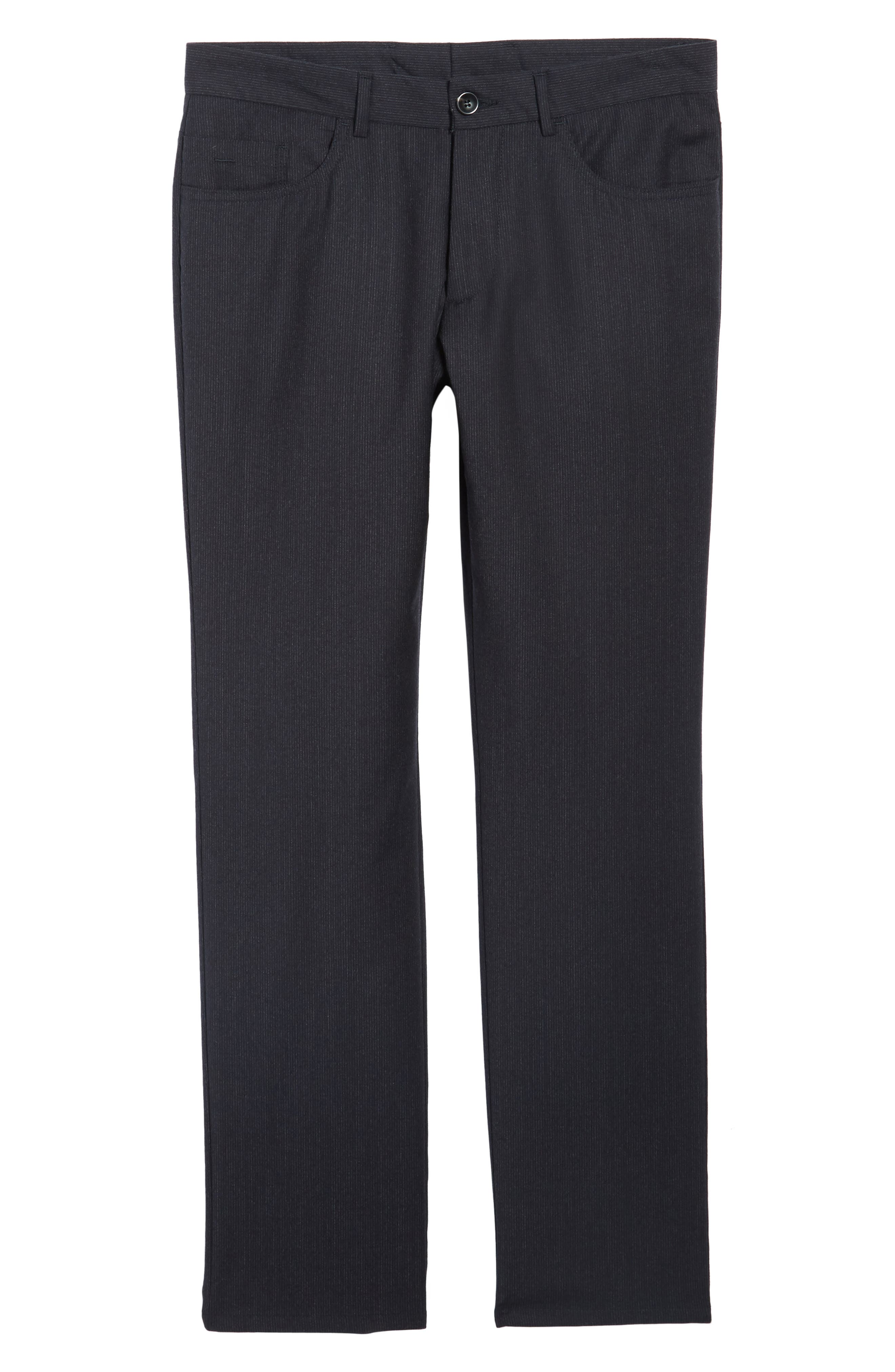 Flat Front Stripe Stretch Wool Trousers,                             Alternate thumbnail 6, color,                             020