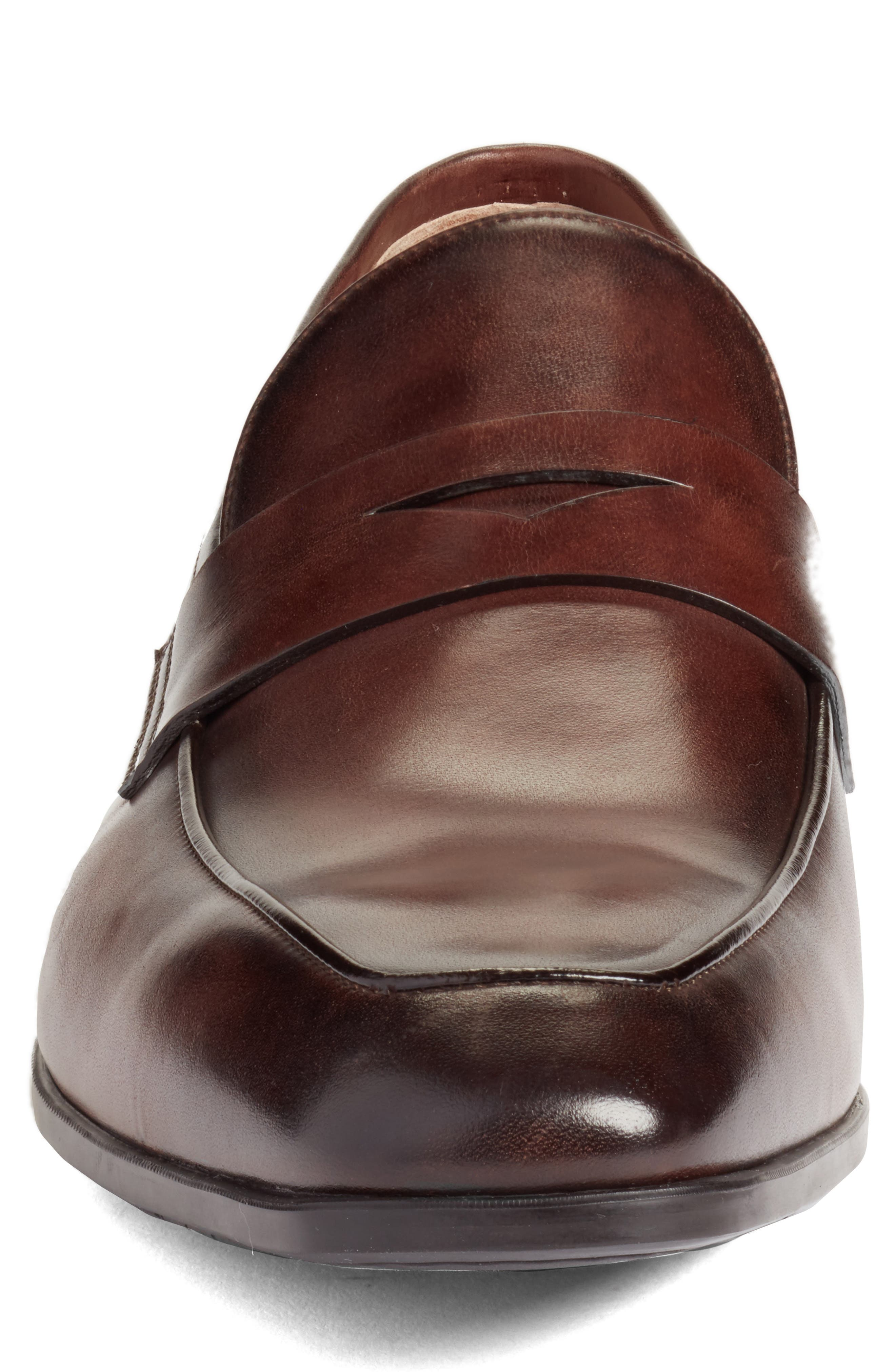 Fisk Square Toe Penny Loafer,                             Alternate thumbnail 4, color,                             BROWN LEATHER
