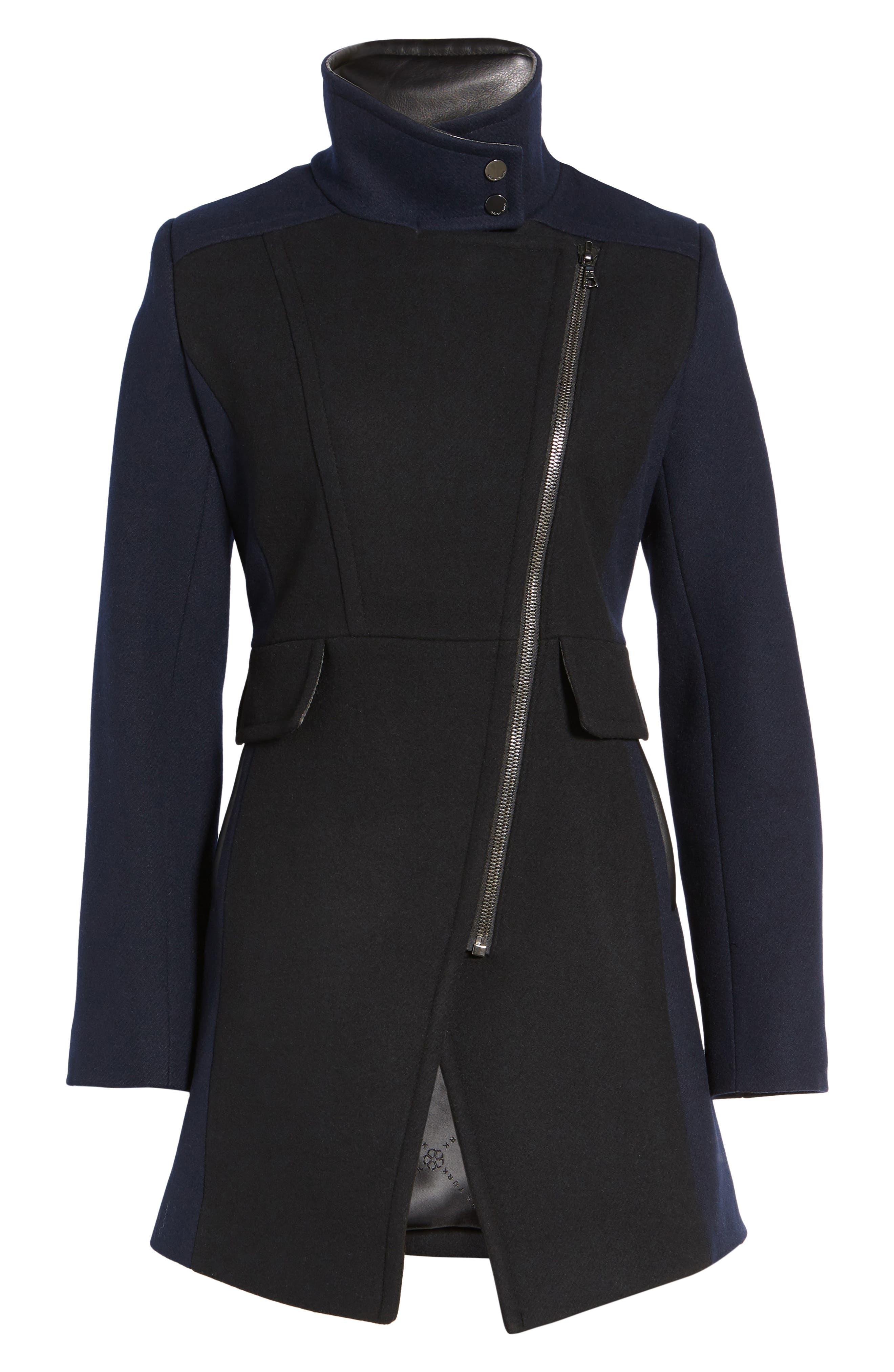 Eleanor Leather Trim Wool Blend Coat,                             Alternate thumbnail 5, color,                             002